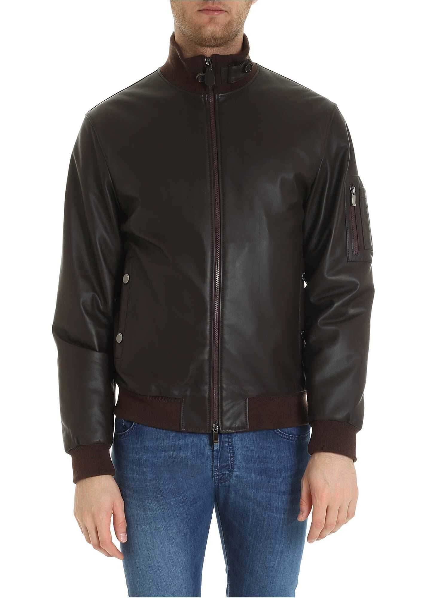 Padded Bomber Jacket In Brown Leather thumbnail