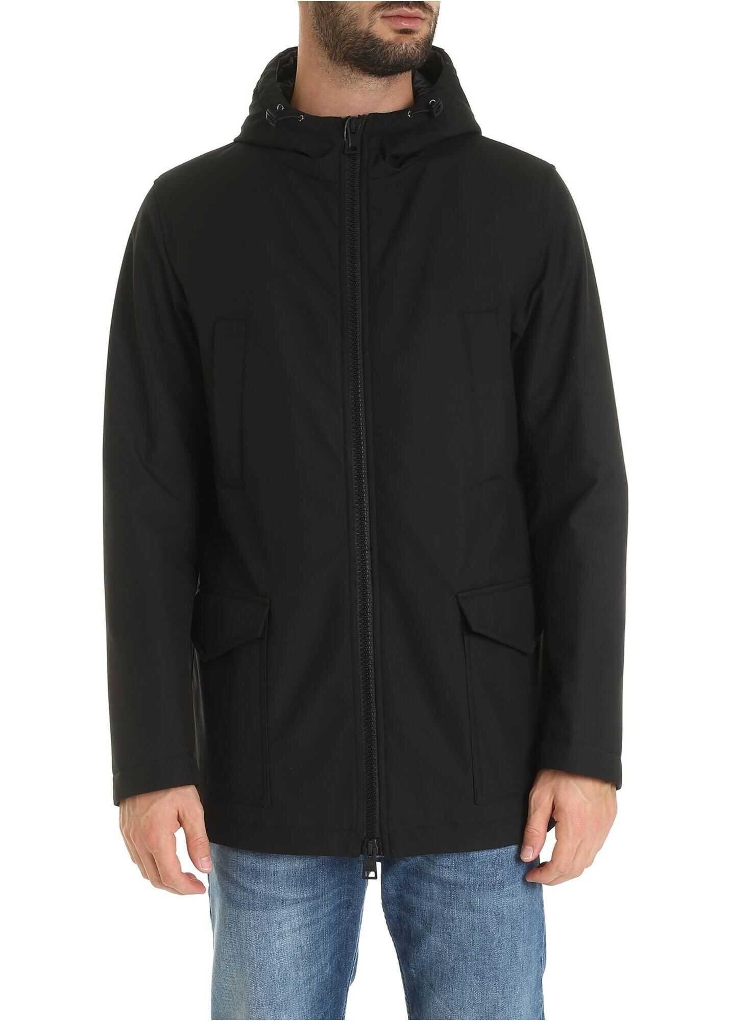 Herno Hoodie Jacket In Black Black imagine