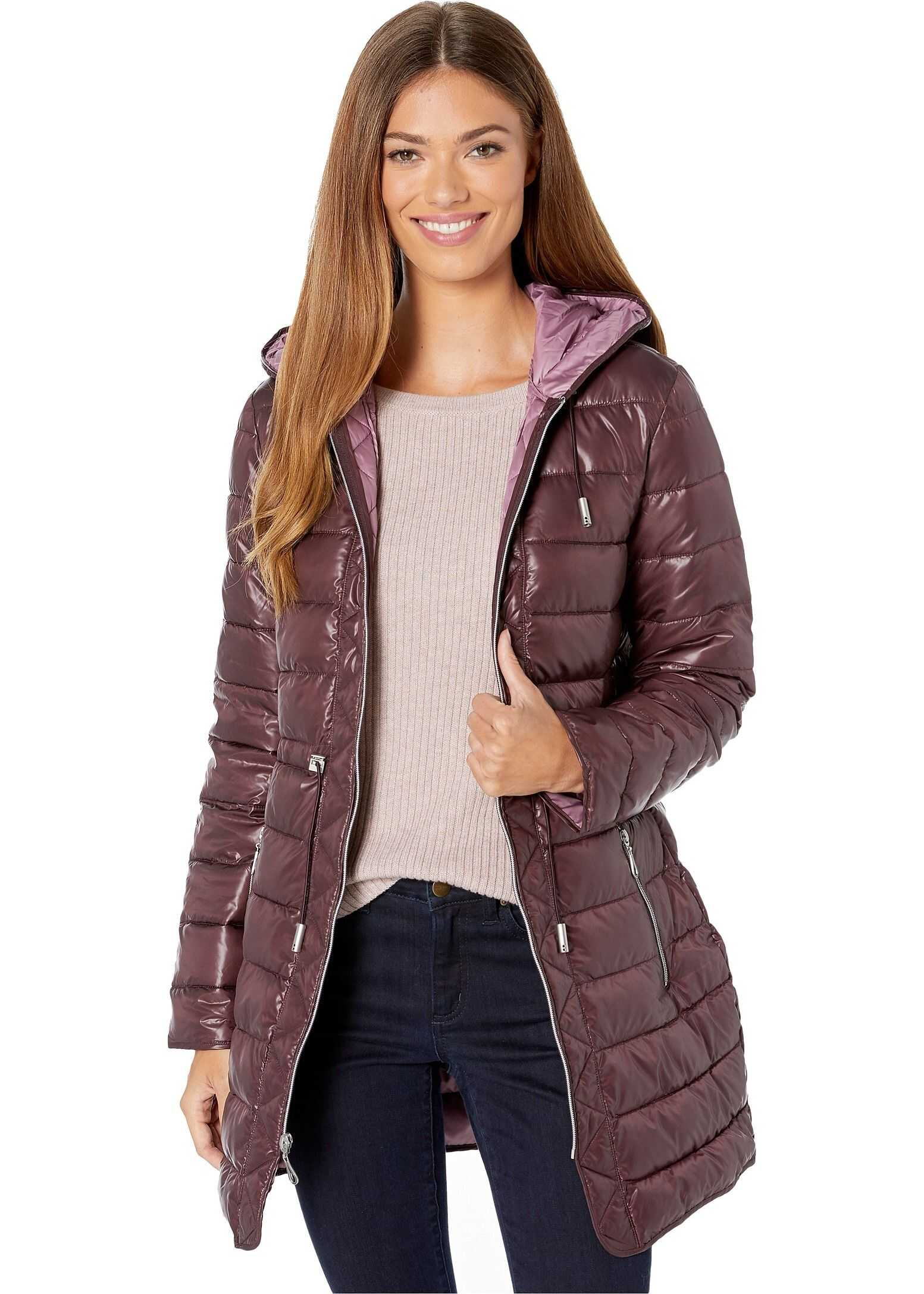 Kenneth Cole New York Hooded Packable Anorak Rum Raisin/Mauve