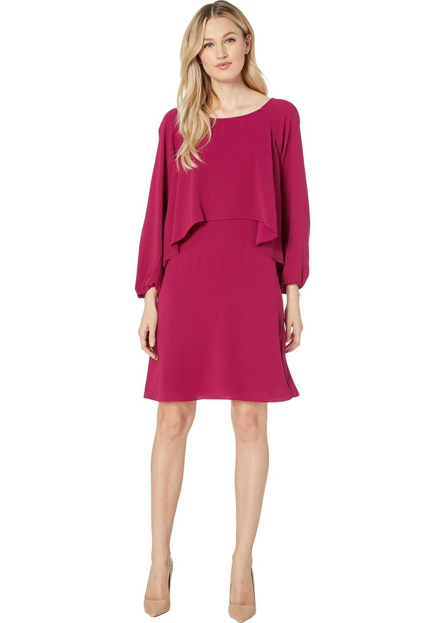 Adrianna Papell Fancy Crepe Cascading Popover Dress Berry Gem