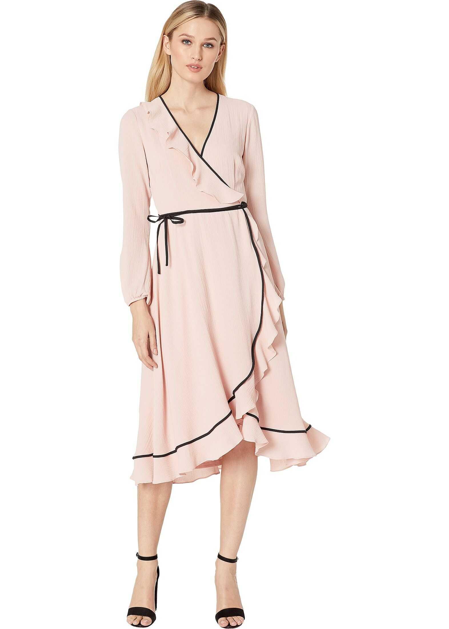 Adrianna Papell Pebble Chiffon Wrap Dress Lotus