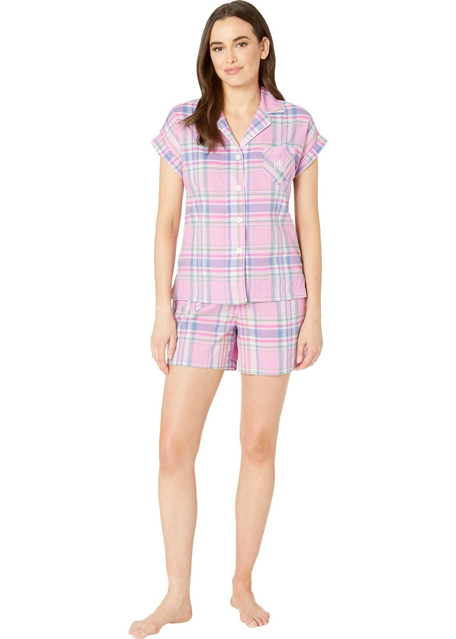 Ralph Lauren Dolman Sleeve Notched Collar Boxer Pajama Set Pink Plaid