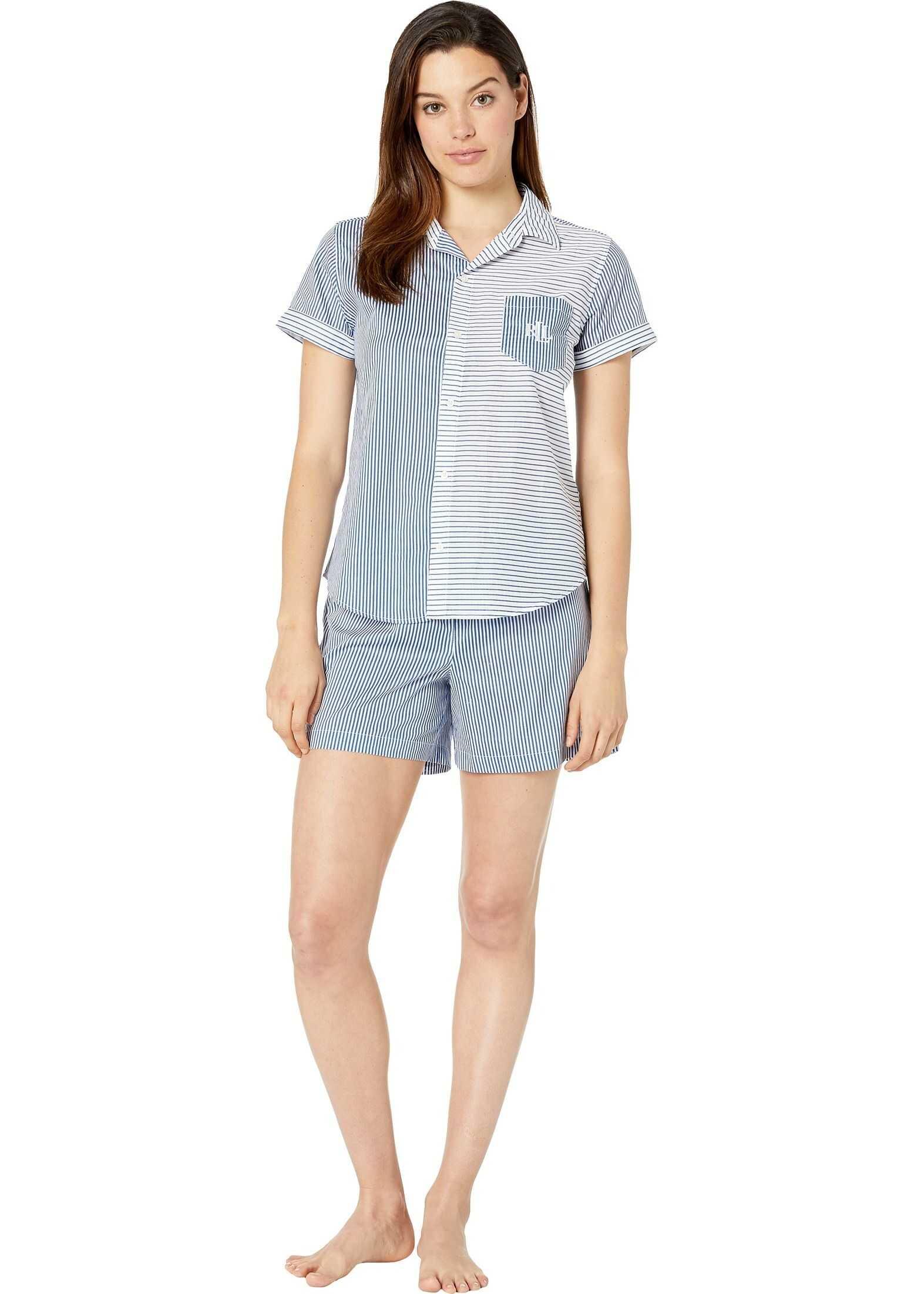 Ralph Lauren Short Sleeve Camp Shirt Boxer Pajama Set Blue Stripe