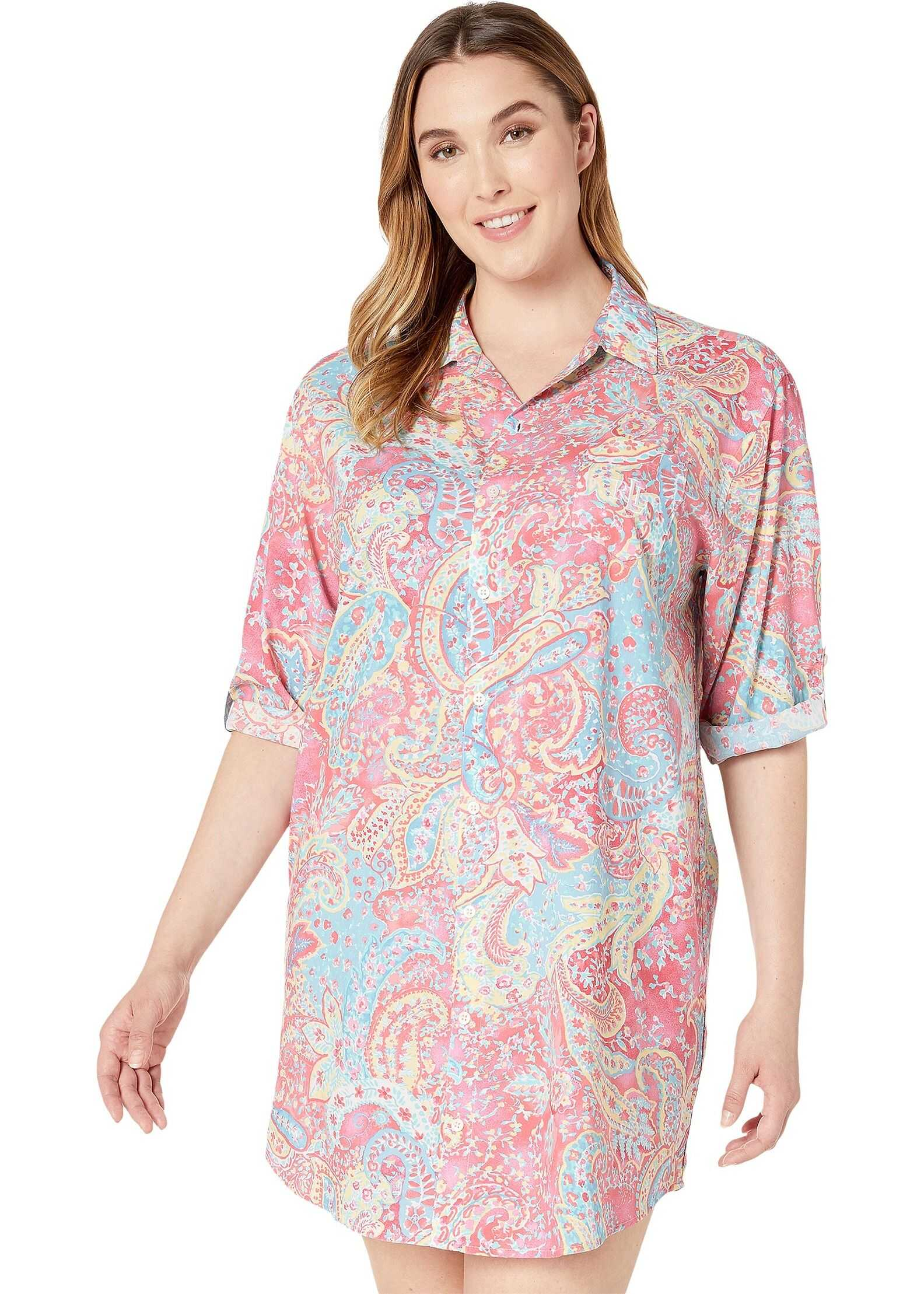 Ralph Lauren Plus Size 3/4 Roll Tab Sleeve His Shirt Sleepshirt Pink Paisley Print