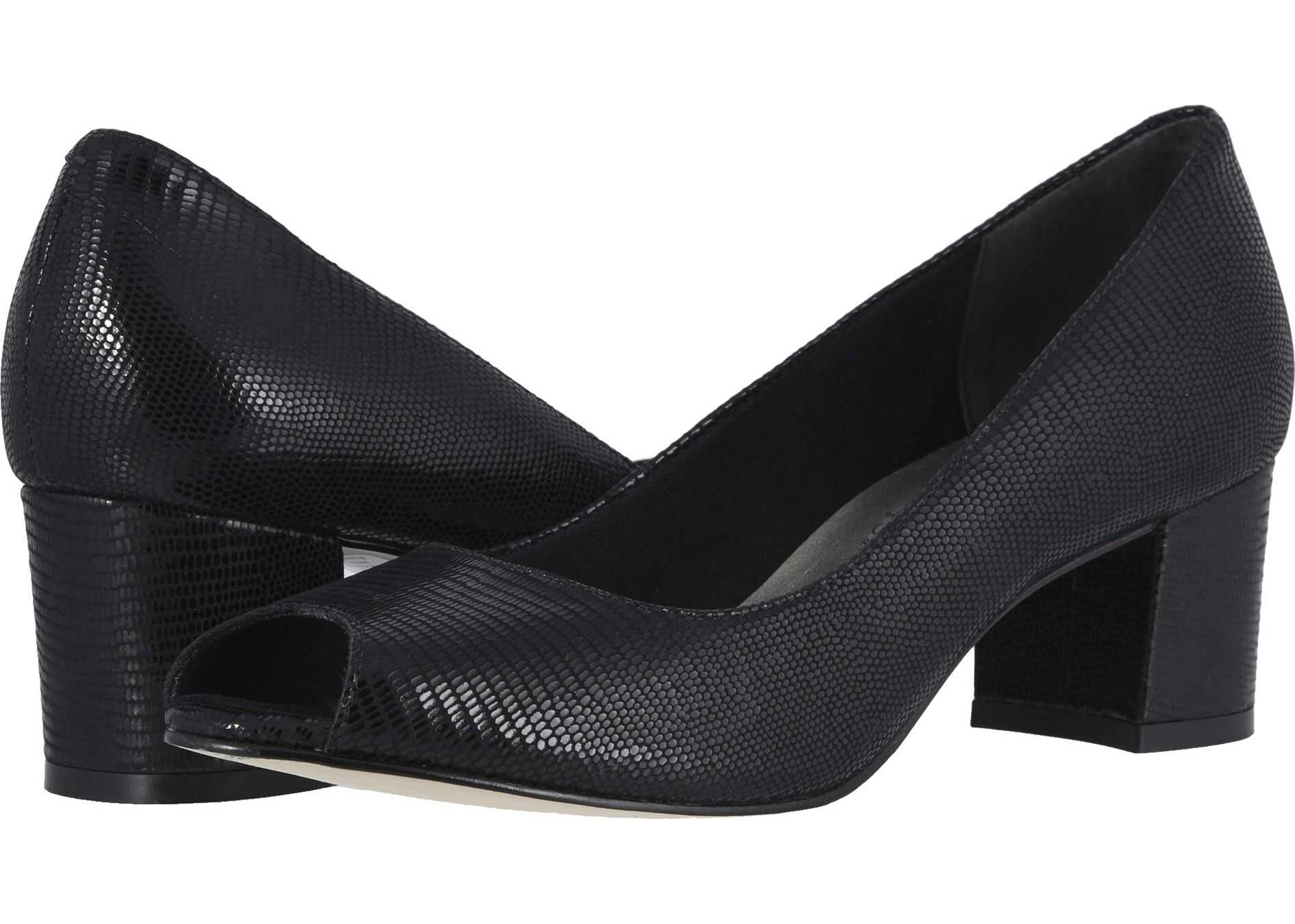 Walking Cradles Jaunt Black Patent Lizard Print Leather