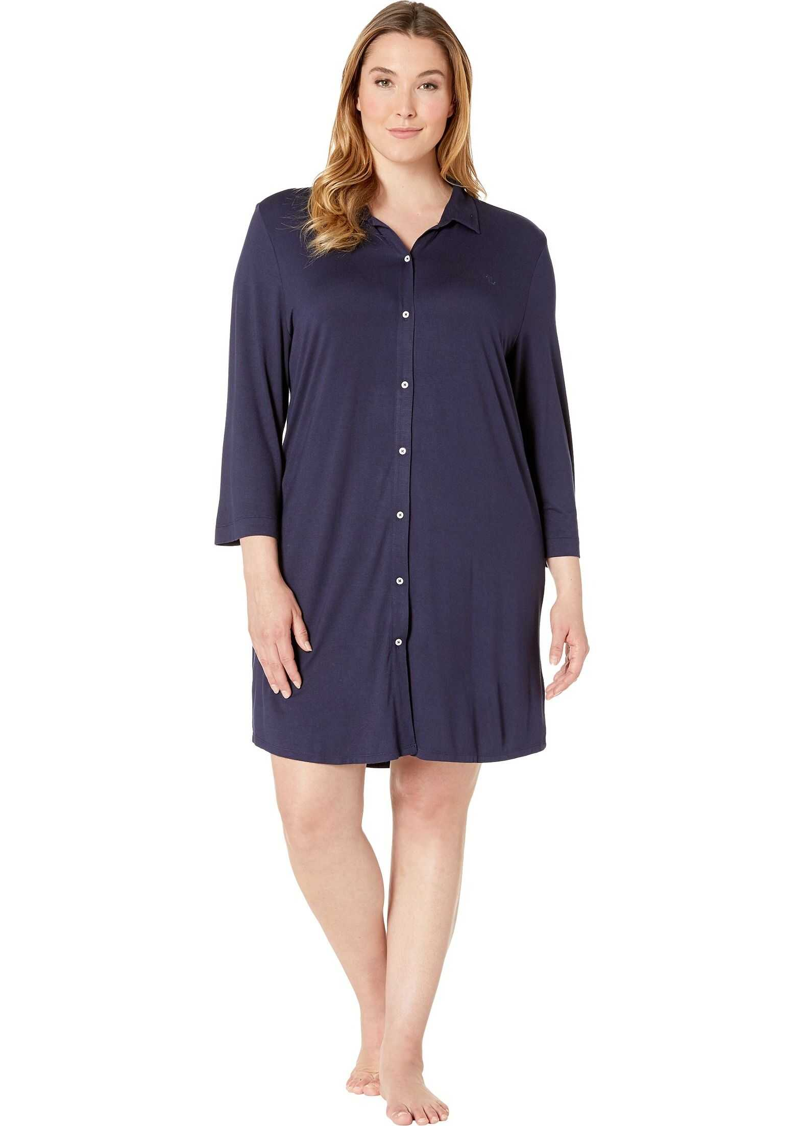 Ralph Lauren Plus Size 3/4 Sleeve Short Sleepshirt Navy