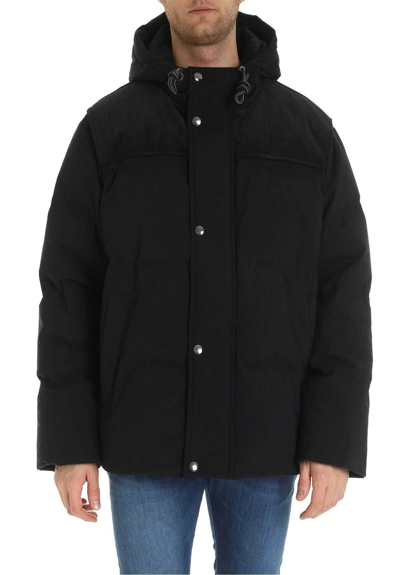Acne Studios Down Jacket In Black With Corduroy Detail Black