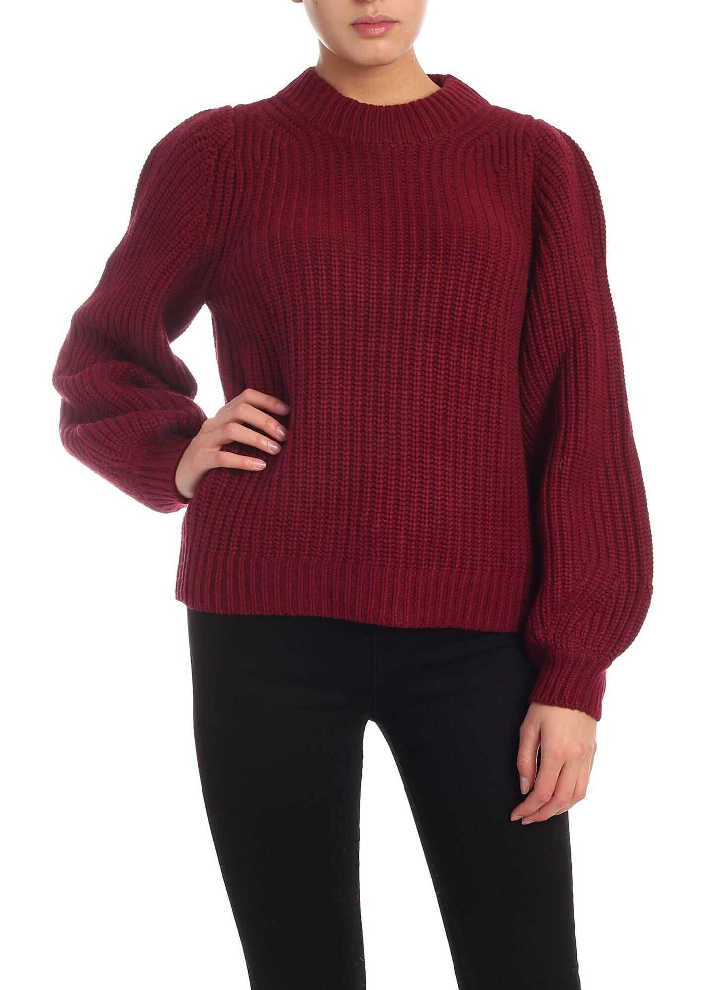 Michael Kors Puff Sleeves Pullover In Burgundy Red