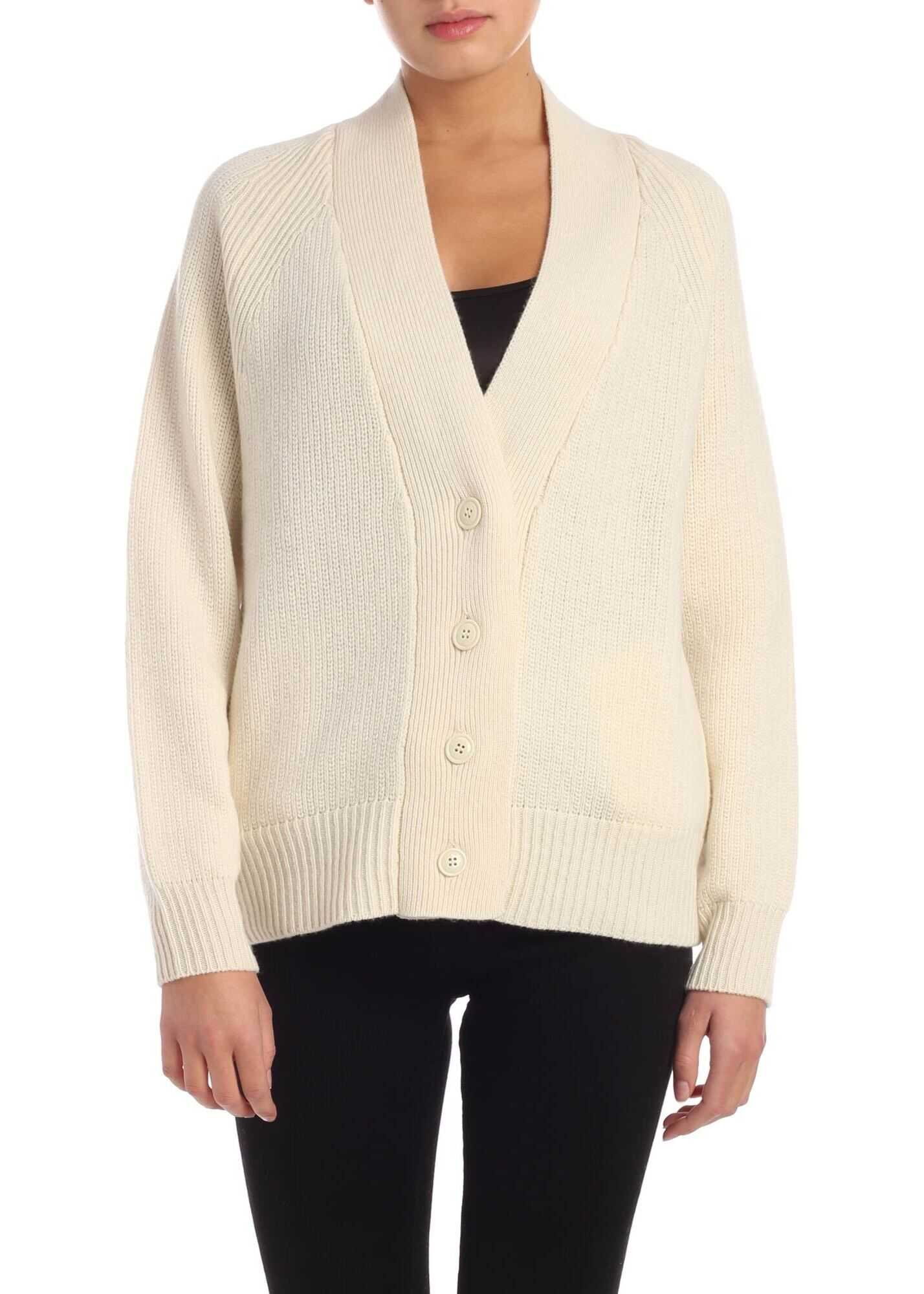 Cardigan In Ivory Color With Tone-On-Tone Buttons thumbnail