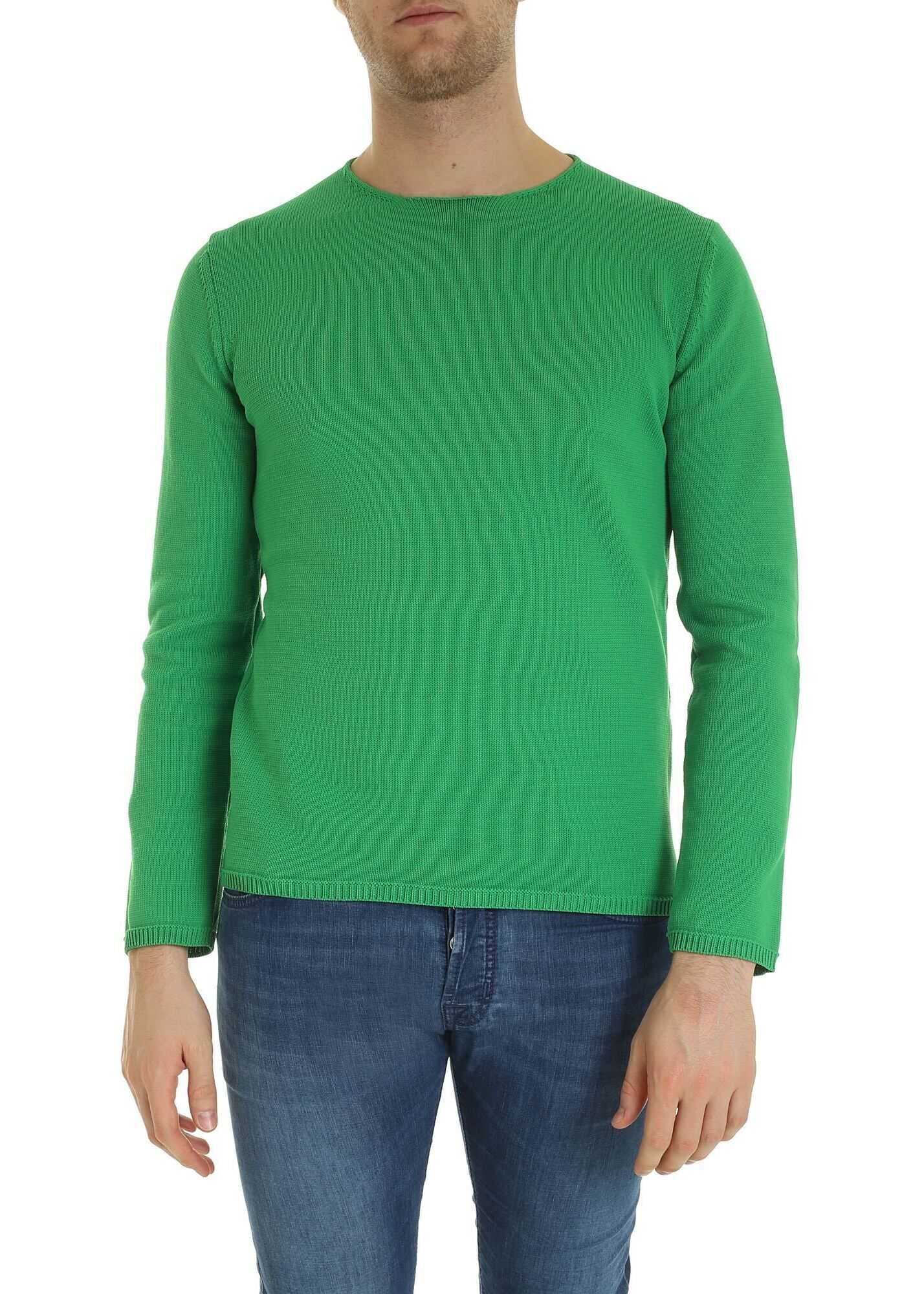 Comme des Garçons Pullover In Green With Raw Cut Neckline Green imagine