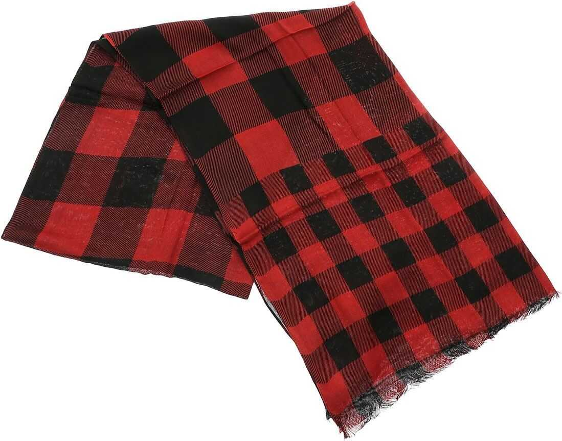 Woolrich Check Print Foulard In Black And Red Red