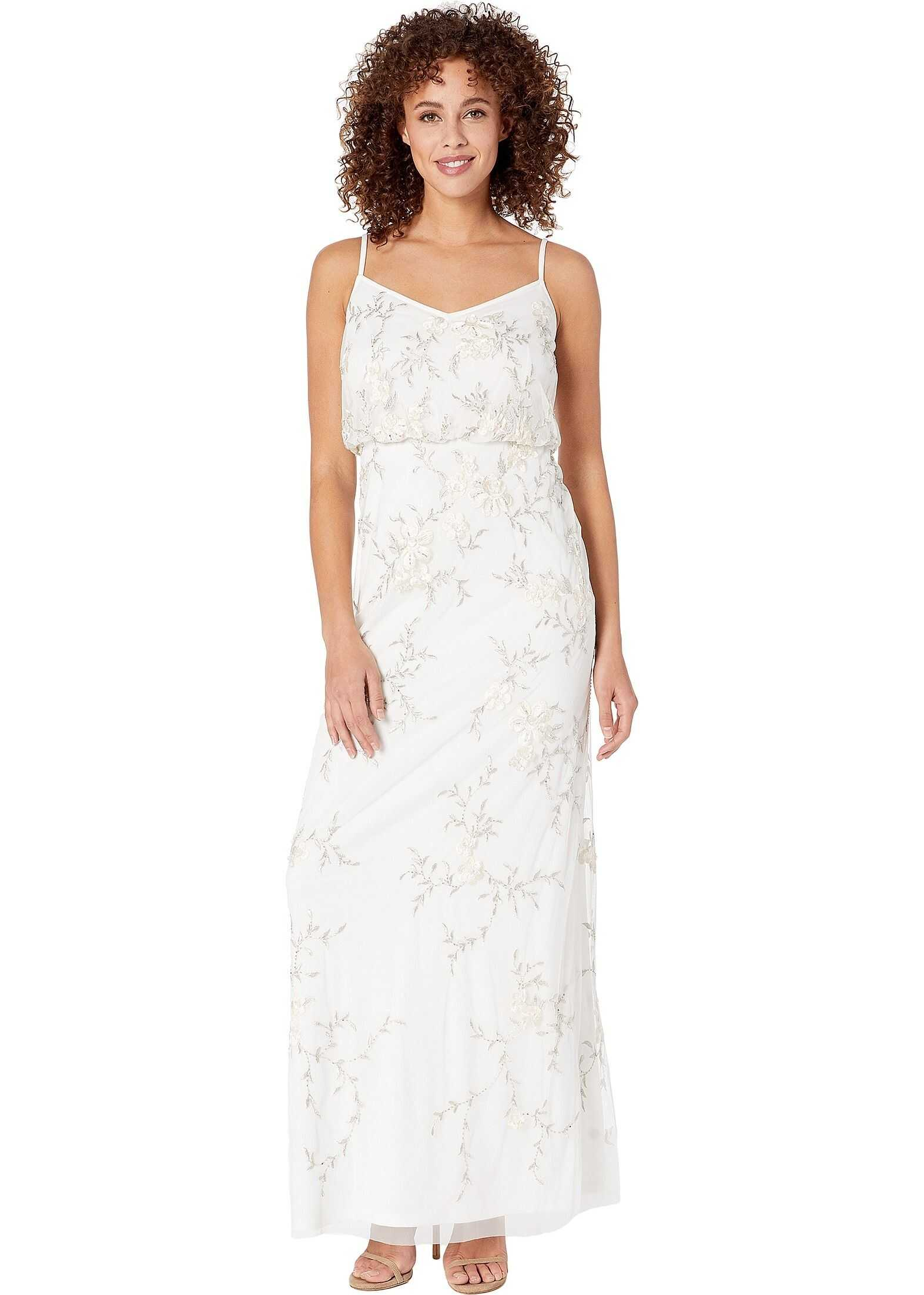 Adrianna Papell Beaded Embroidered Floral Evening Gown Ivory
