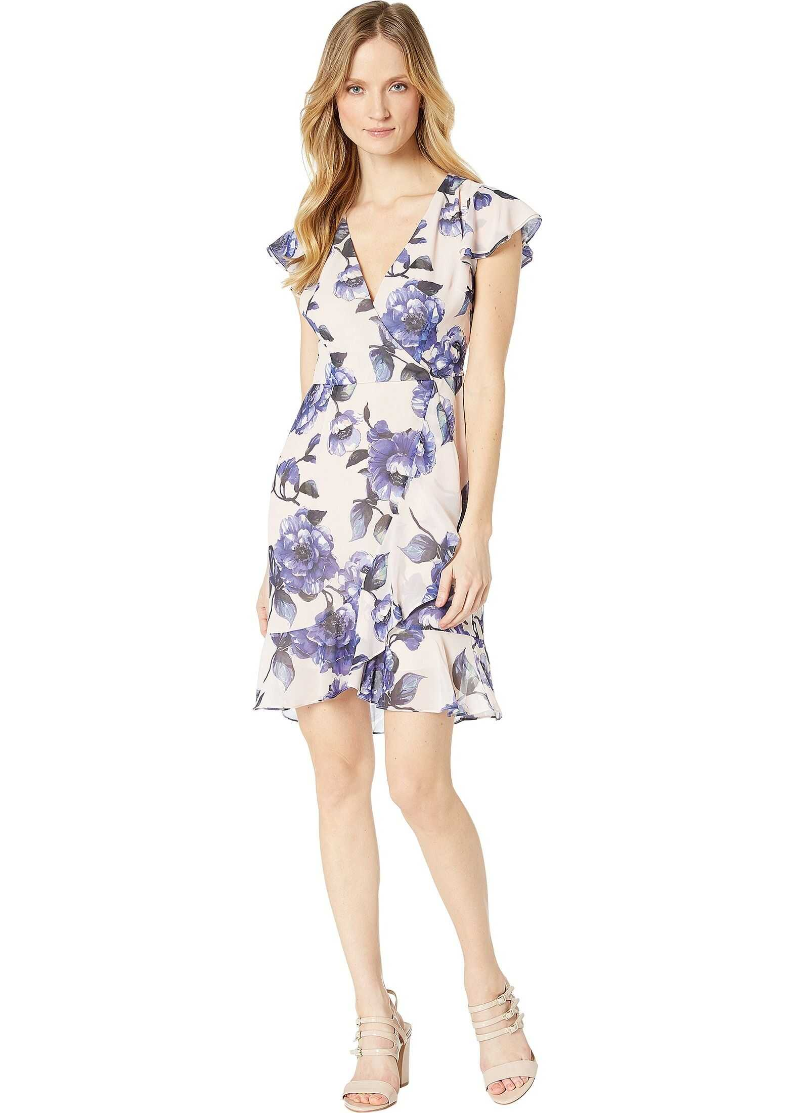 Adrianna Papell Geranium Printed Faux Wrap Dress Petal/Blue Multi