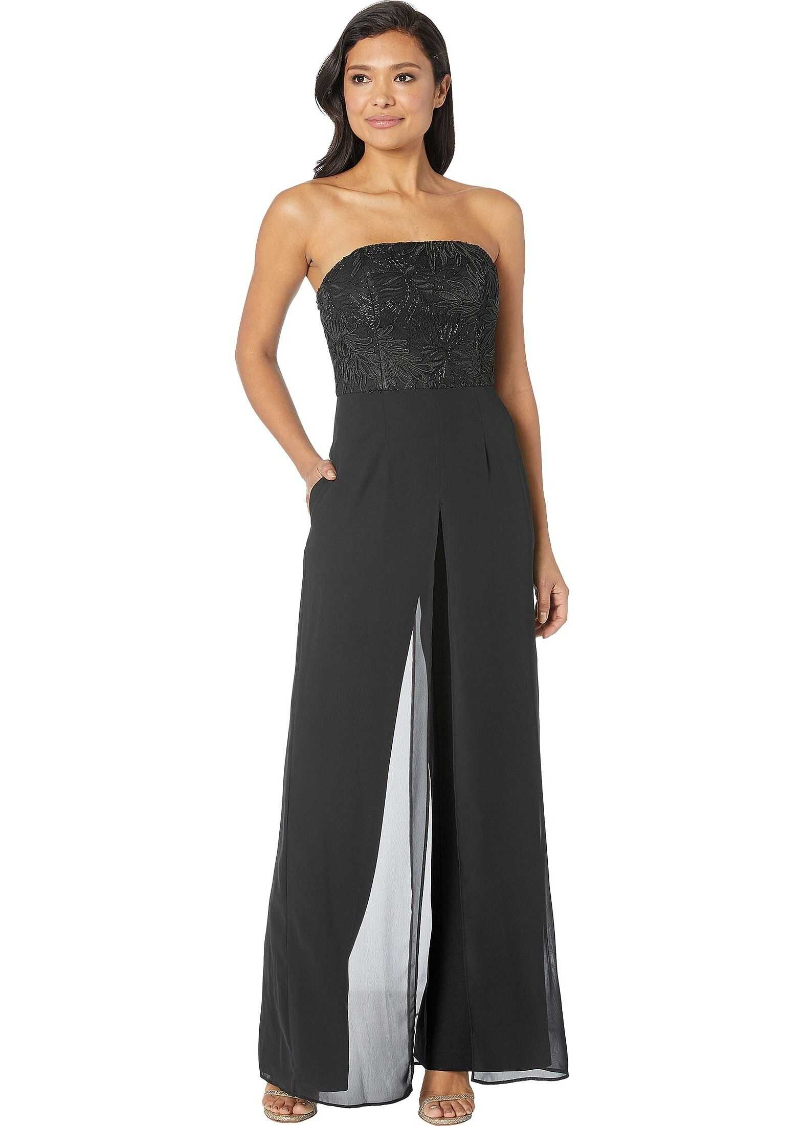Adrianna Papell Embroidered Strapless Crepe Jumpsuit Black