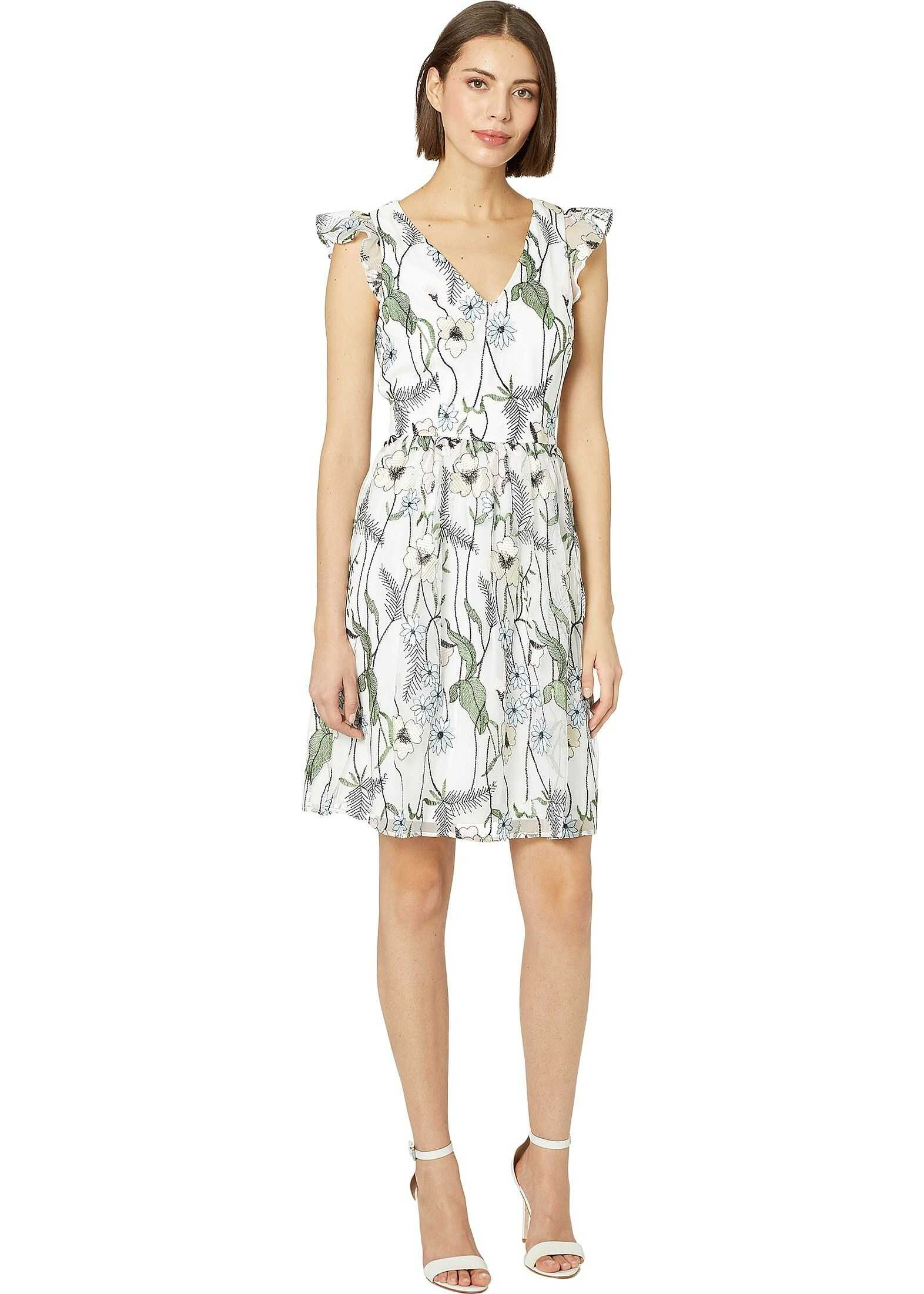 Adrianna Papell Pastel Paradise Embroidered Fit and Flare Dress Ivory Multi