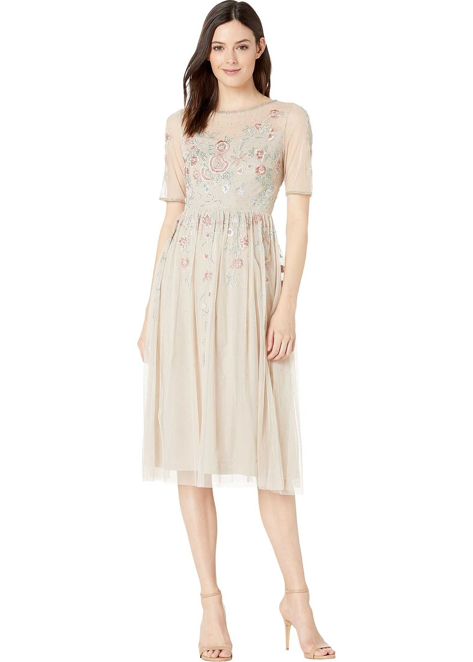 Adrianna Papell Floral Beading Tea-Length Cocktail Dress Biscotti