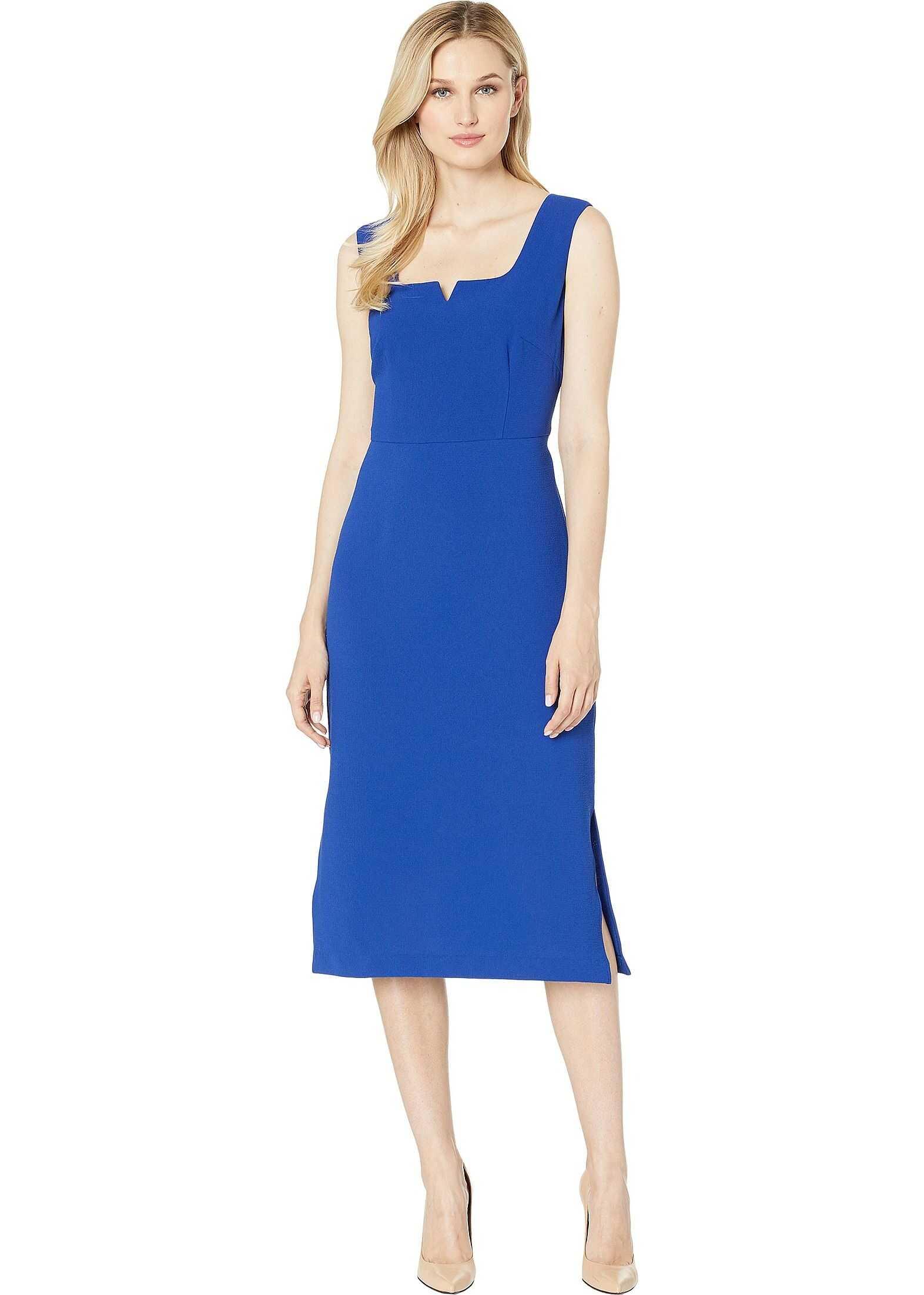 Adrianna Papell Cameron Textured Midi Sheath Dress Egyptian Blue