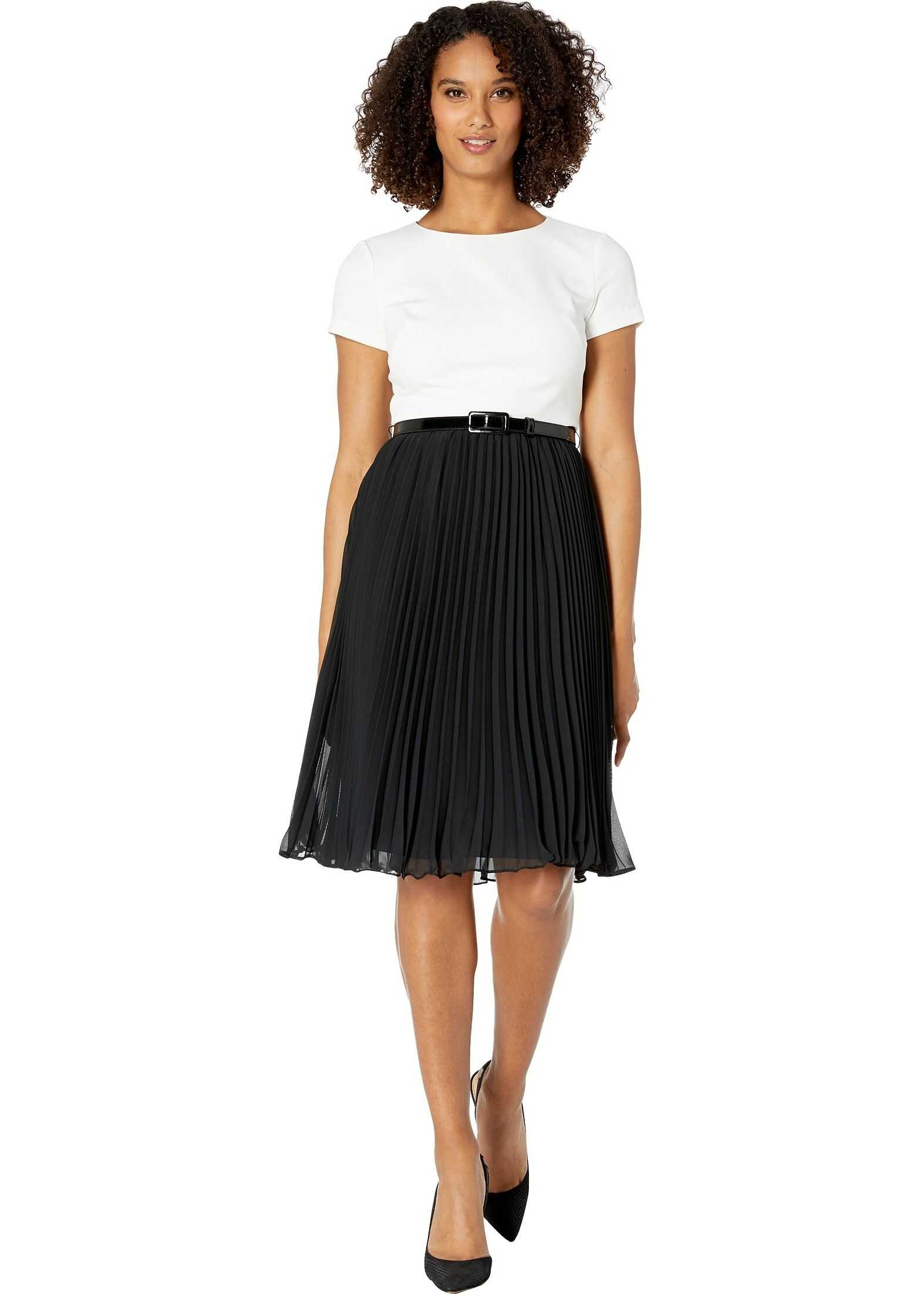 Adrianna Papell T-Shirt Dress with Belt and Chiffon Pleated Skirt Ivory/Black