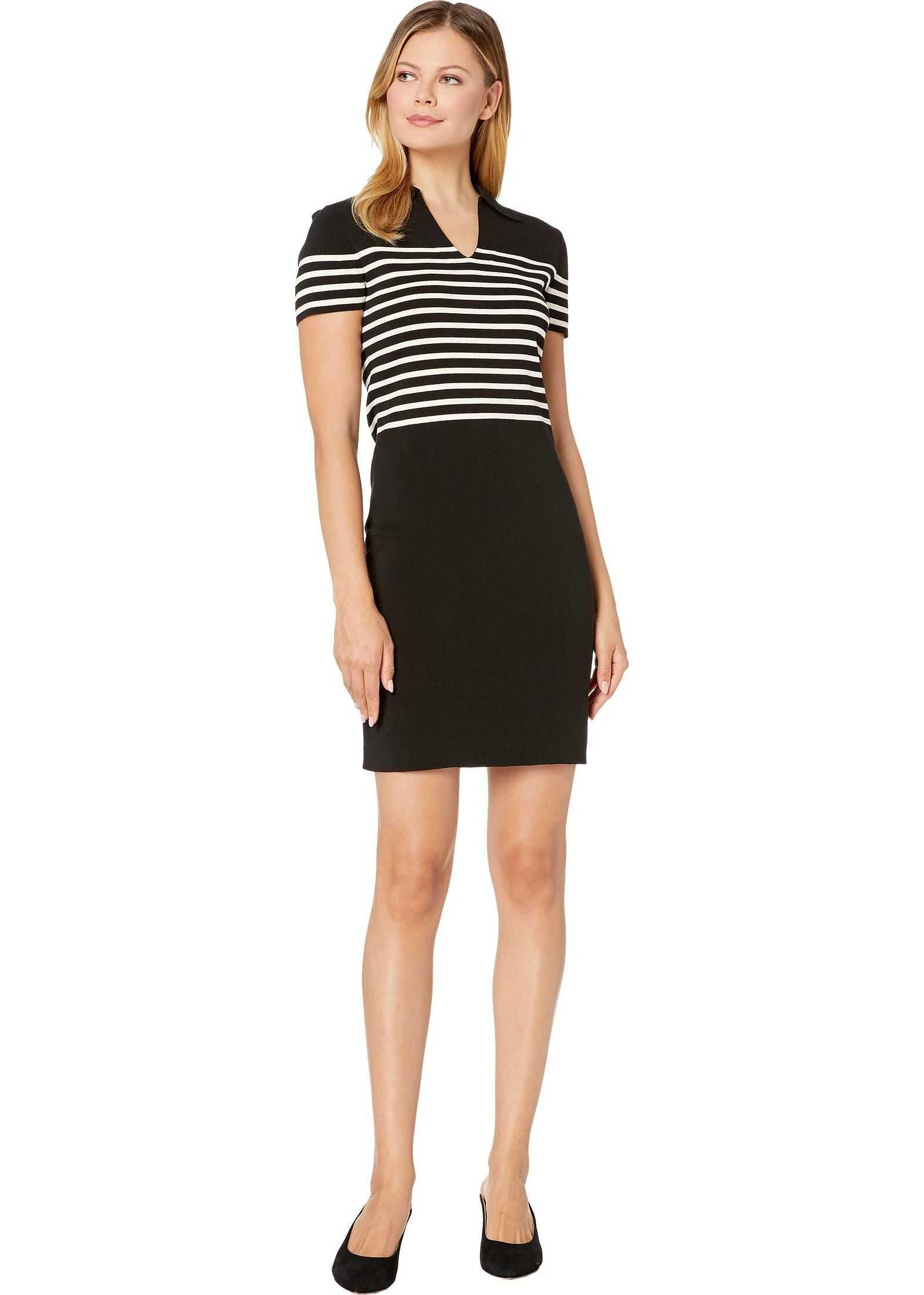 Anne Klein Striped Collar Shift Sweater Dress Anne Black/Anne White