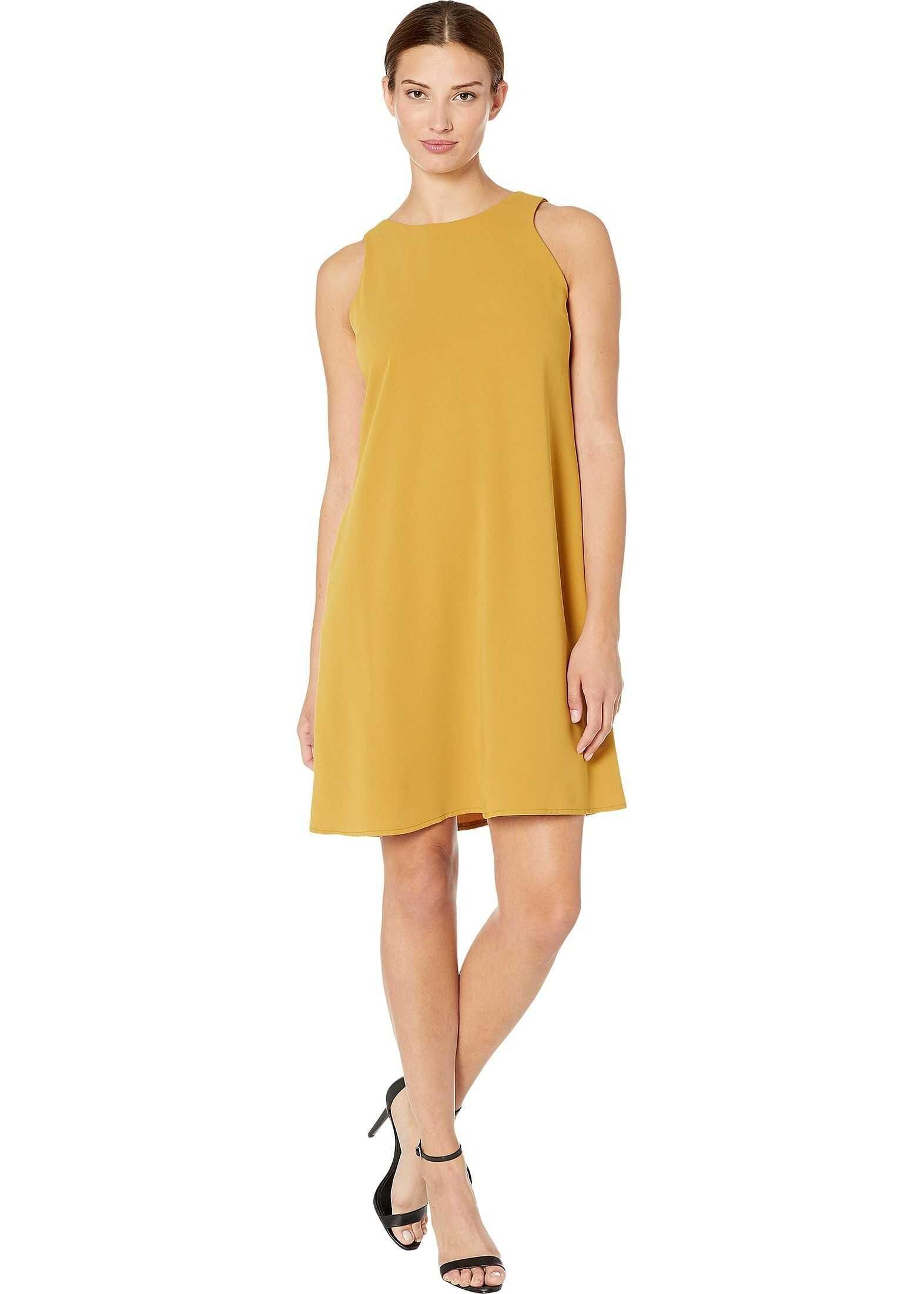 Nine West Soft Crepe Sleeveless Trapeze Dress Amber