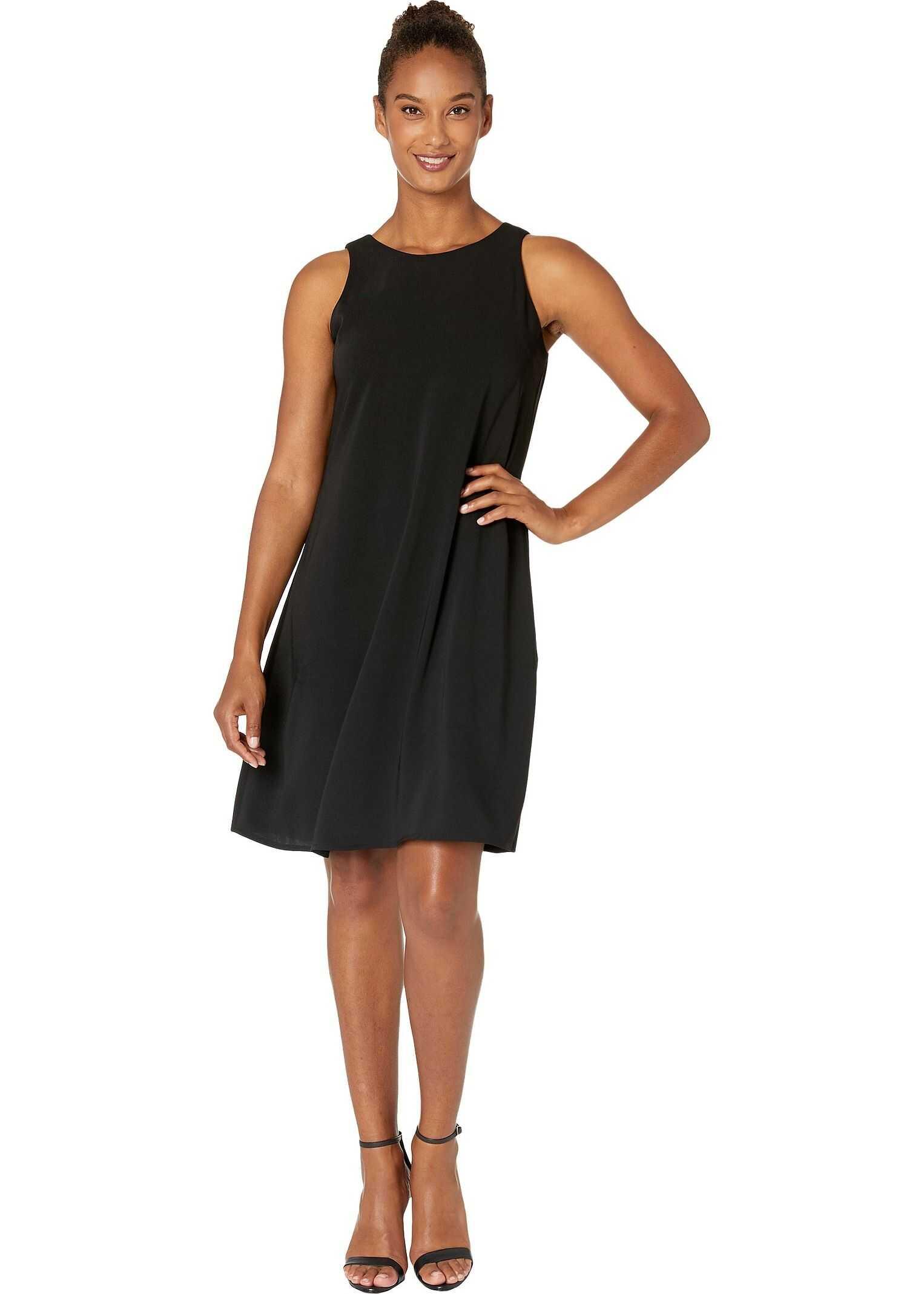 Nine West Soft Crepe Sleeveless Trapeze Dress Black