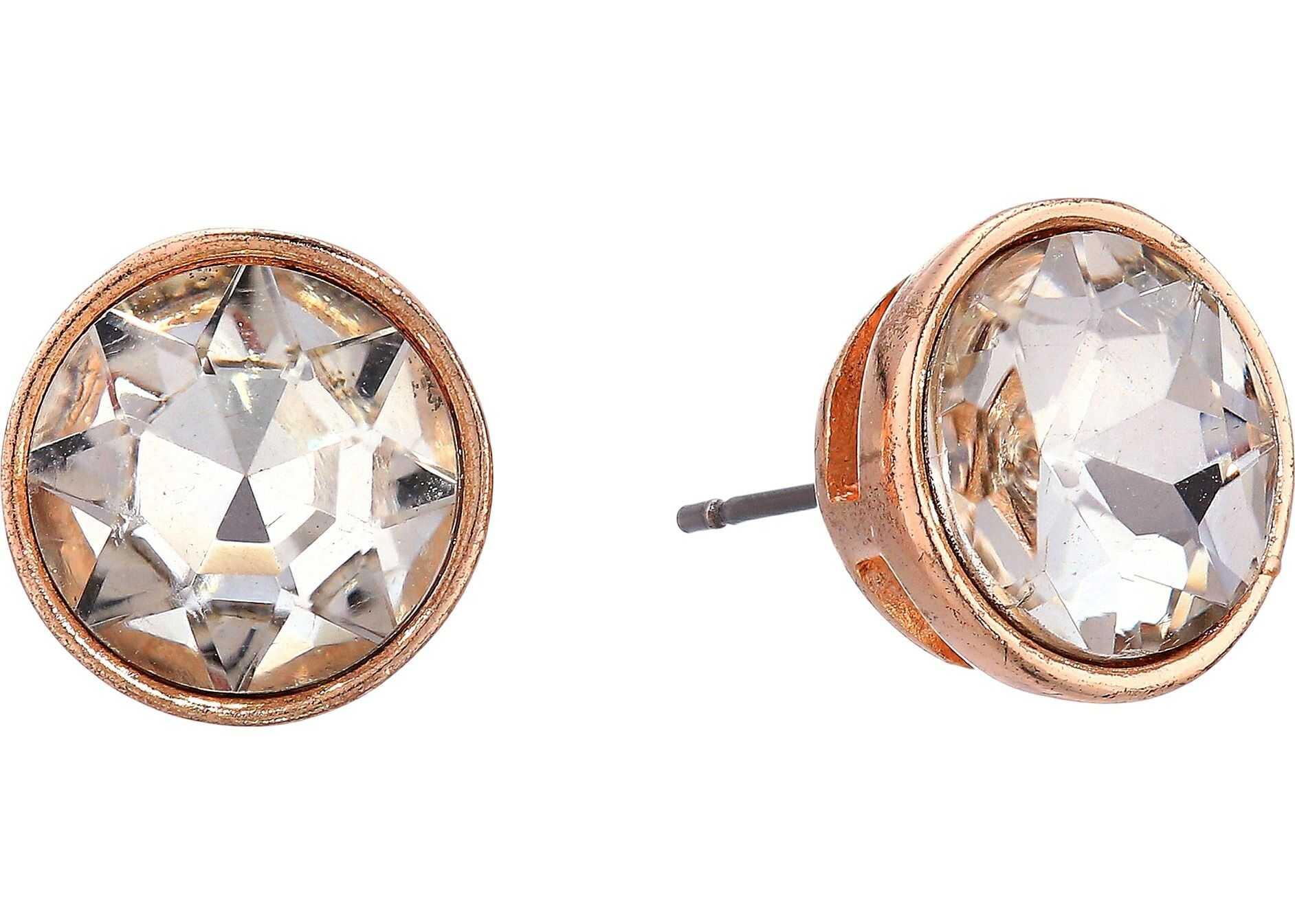 Betsey Johnson Crystal/Rose Gold Stud Earrings Crystal
