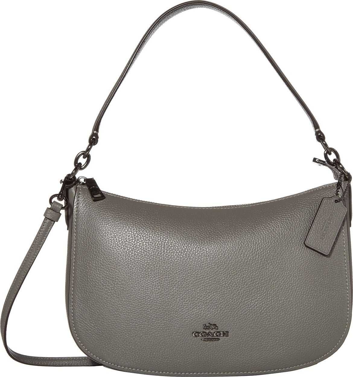 COACH Polished Pebble Leather Chelsea Crossbody Dk/Heather Grey