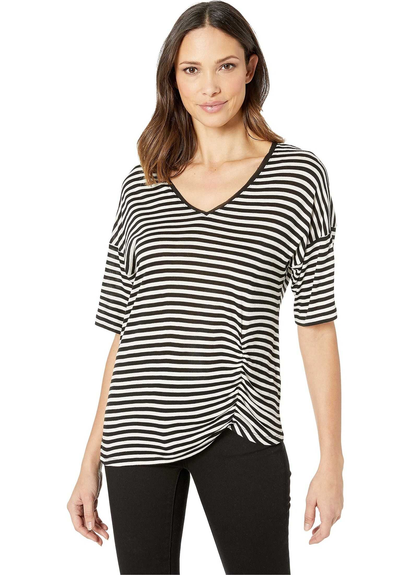 Kenneth Cole New York Side Ruched Tee Crosstown Heather Stripe Black