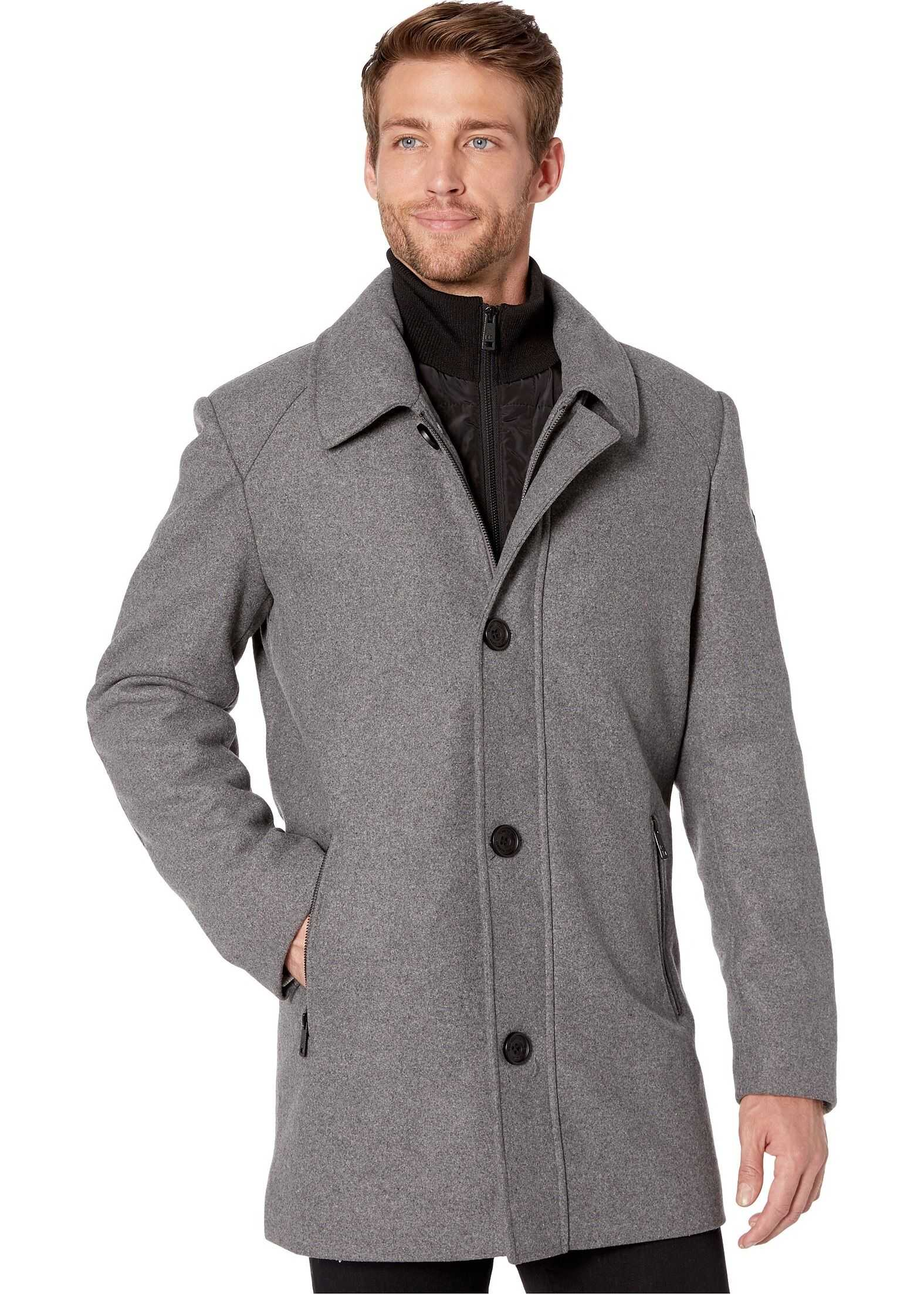 Kenneth Cole New York Button Front Wool Jacket w/ Knit Collar Light Grey