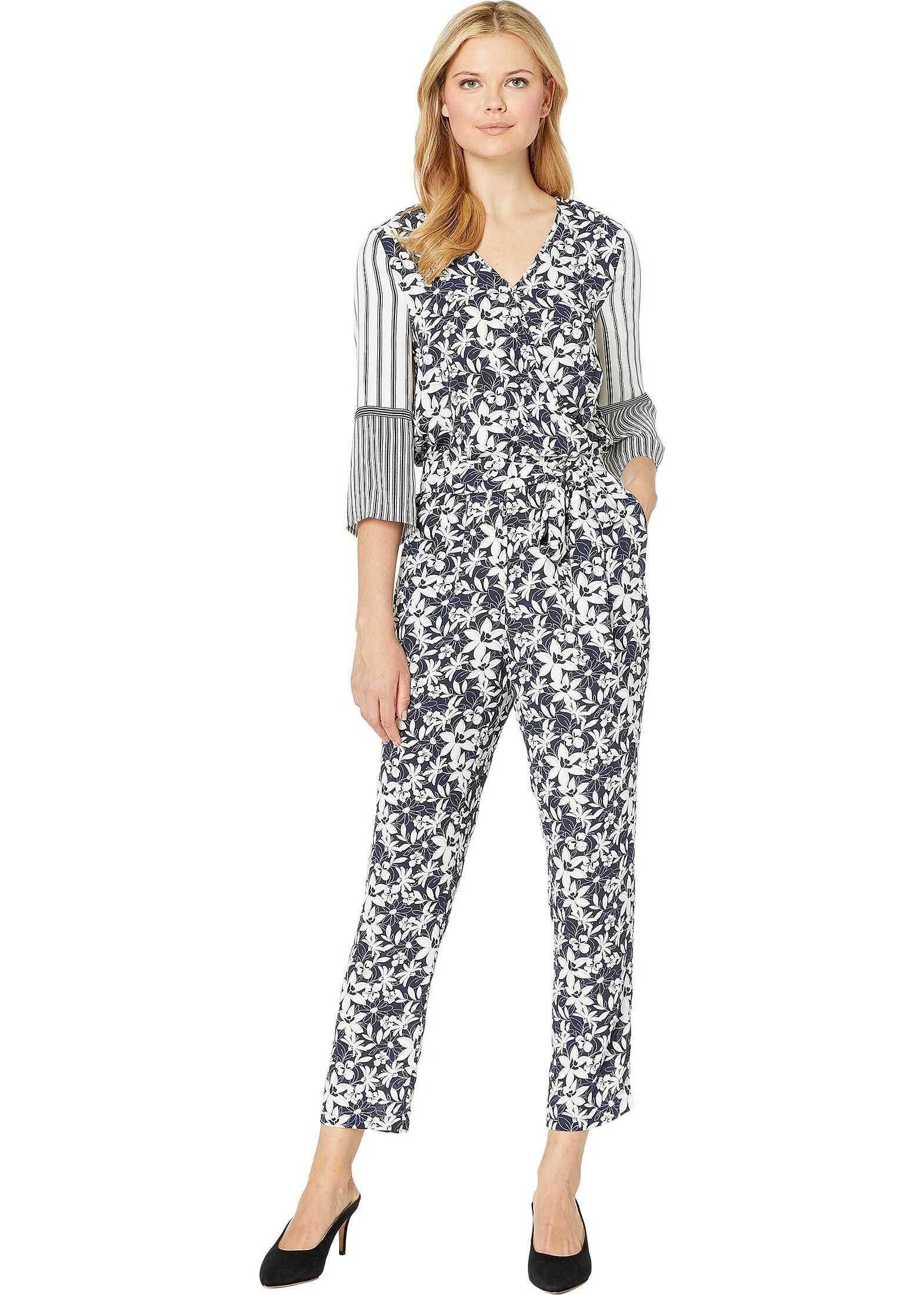 Vince Camuto 3/4 Sleeve Floral Lace Mix Print Jumpsuit Classic Navy