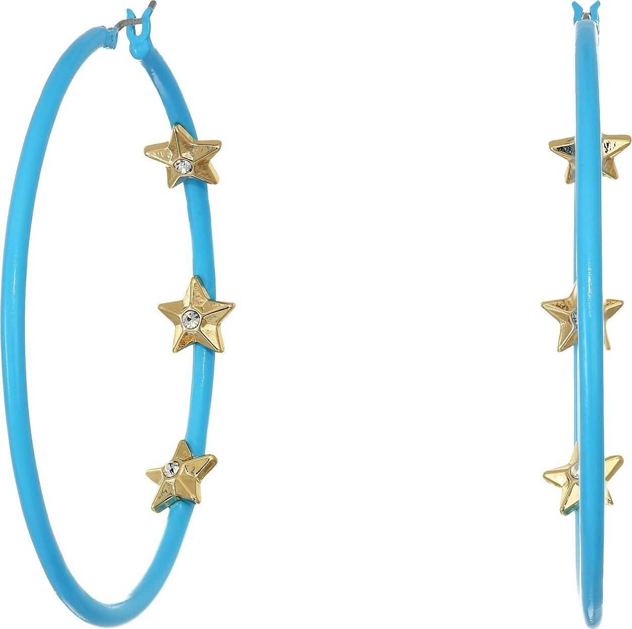Steve Madden Rhinestone Triple Star Inside Station Hoop Earrings Blue