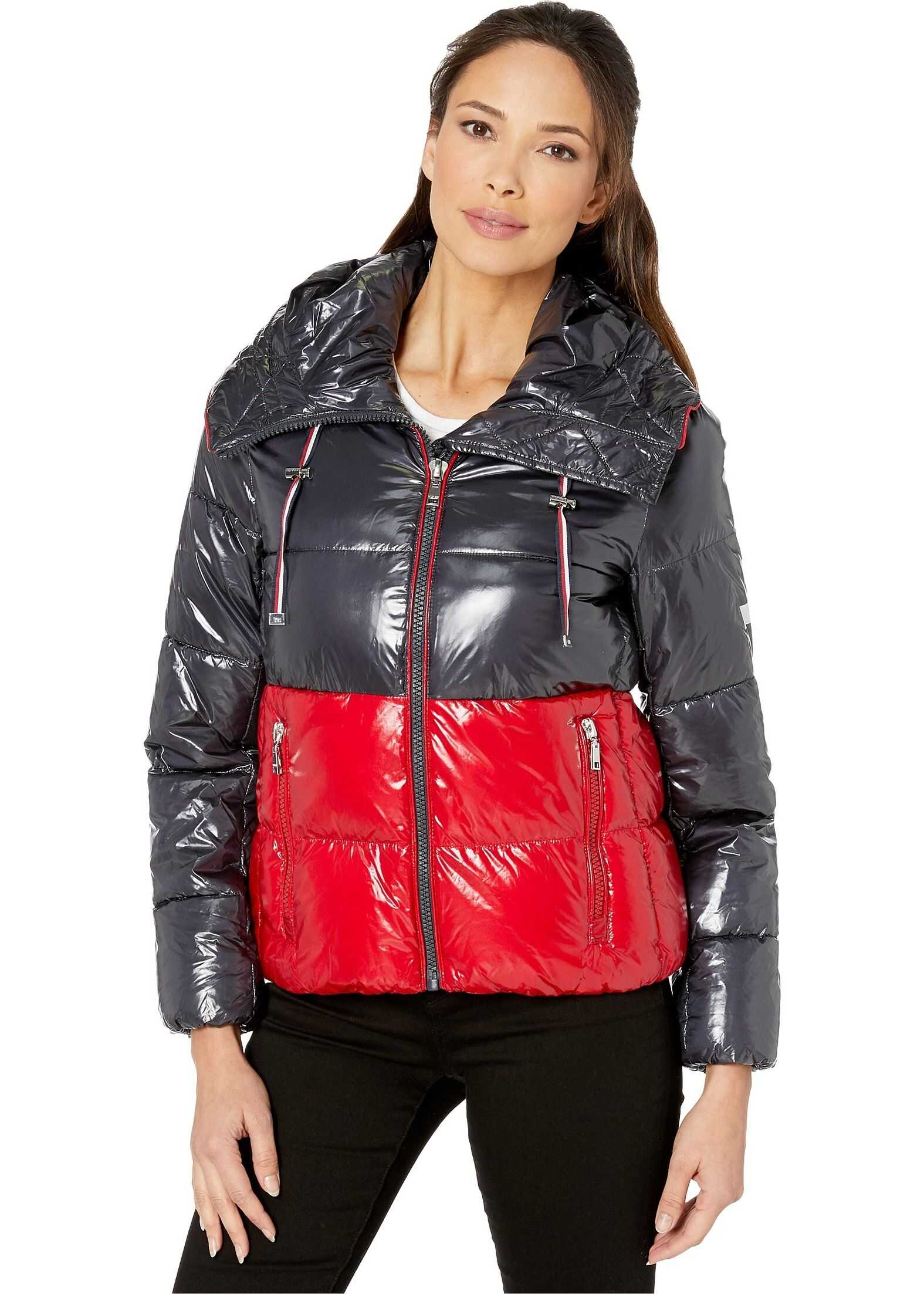 Tommy Hilfiger Shiney Color Block Puffer w/ Hood Red/Navy Combo