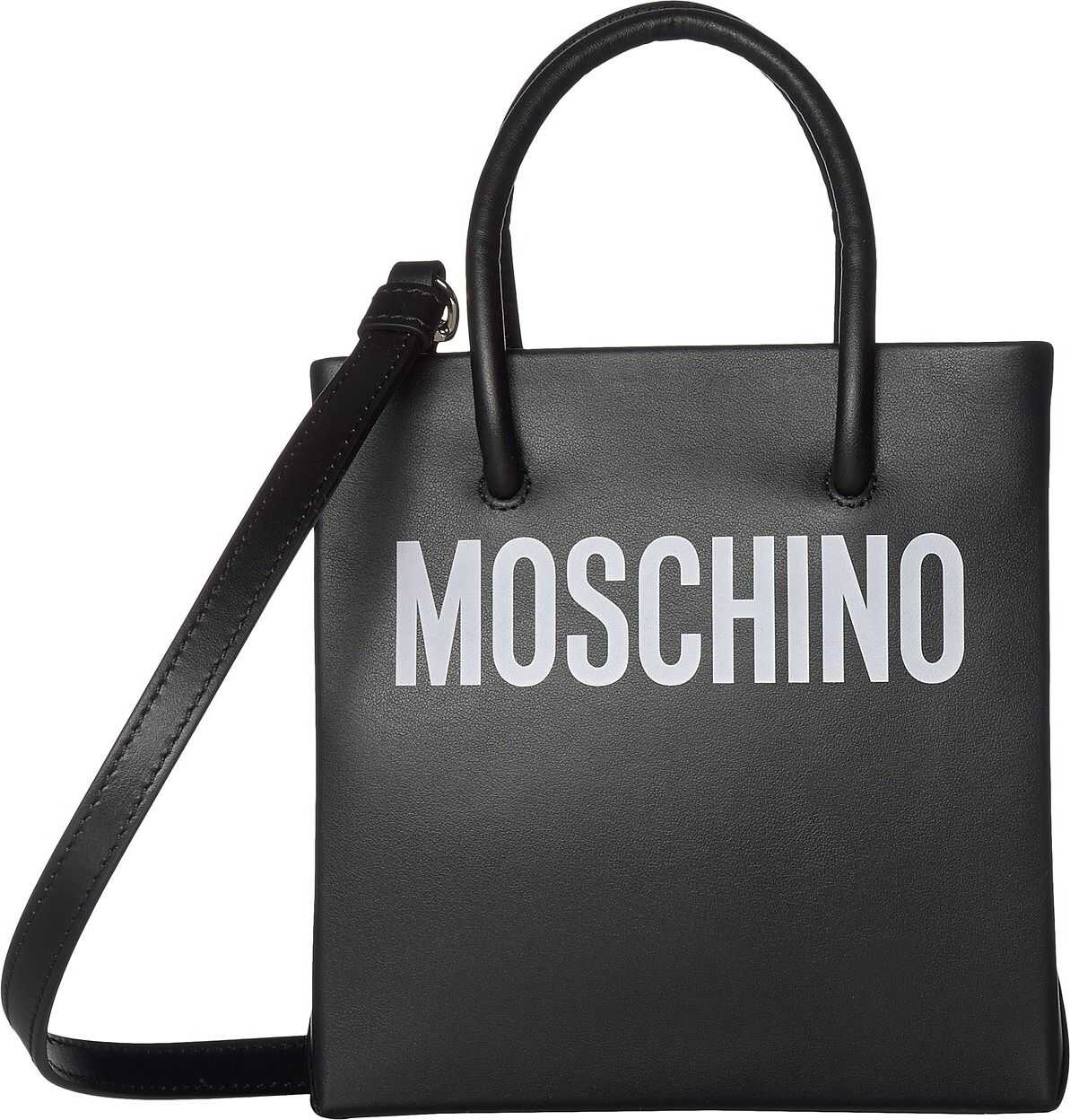 Moschino Medium Leather Logo Tote Print Black
