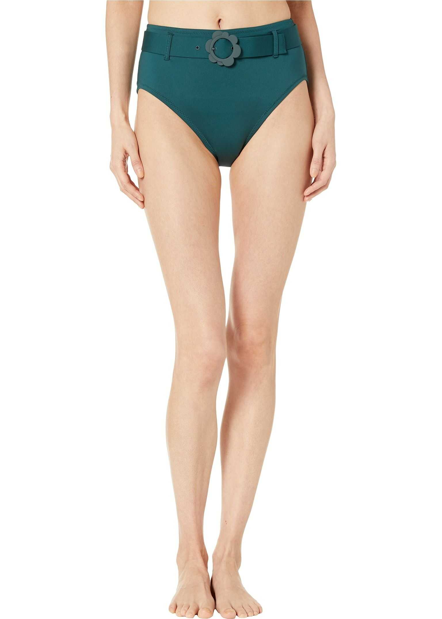 Kate Spade New York Daisy Buckle High-Waist Bikini Bottoms Conifer