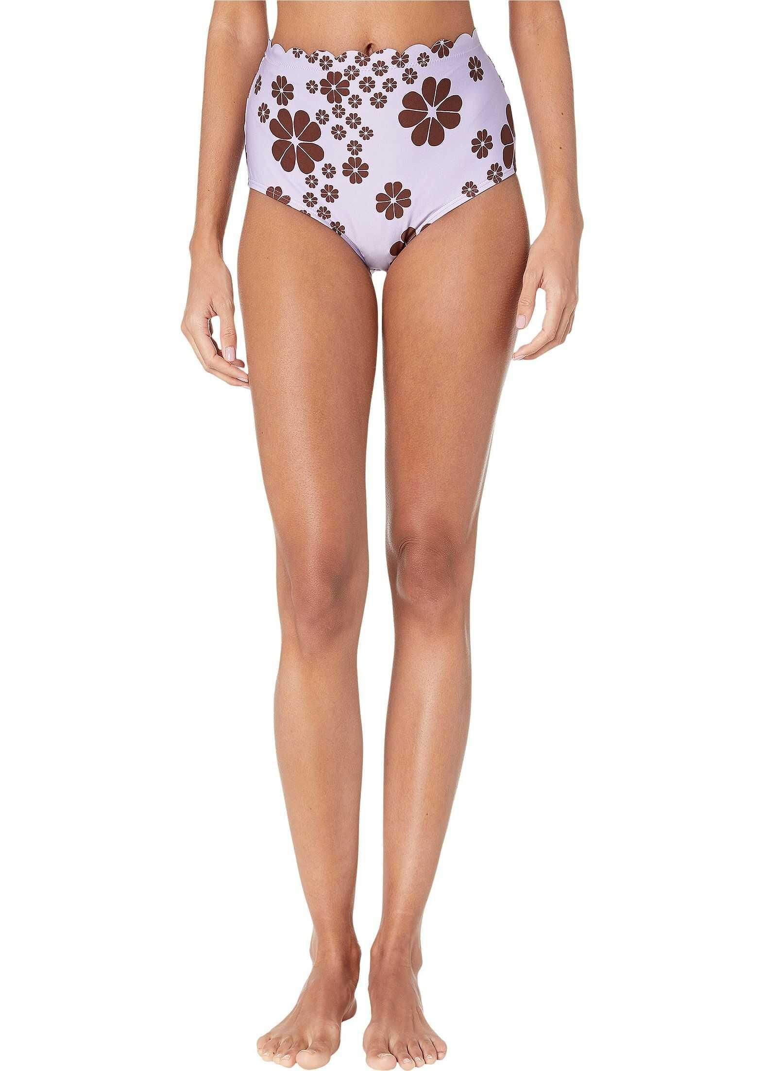 Kate Spade New York Scalloped High-Waisted Bikini Bottoms Frozen Lilac