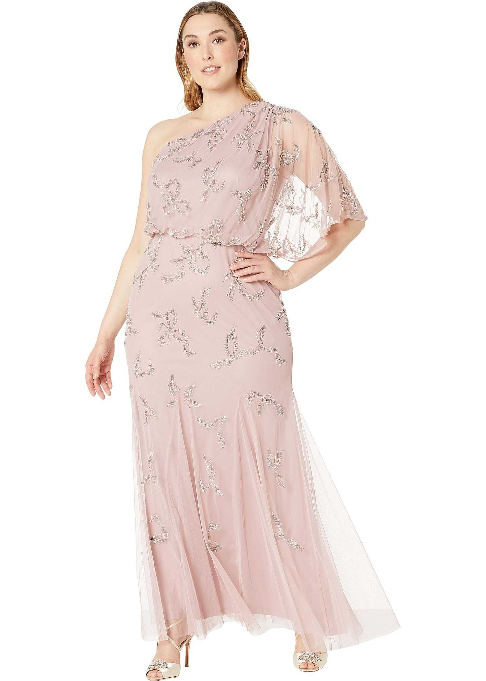 Adrianna Papell Plus Size One Shoulder Beaded Evening Gown Petal