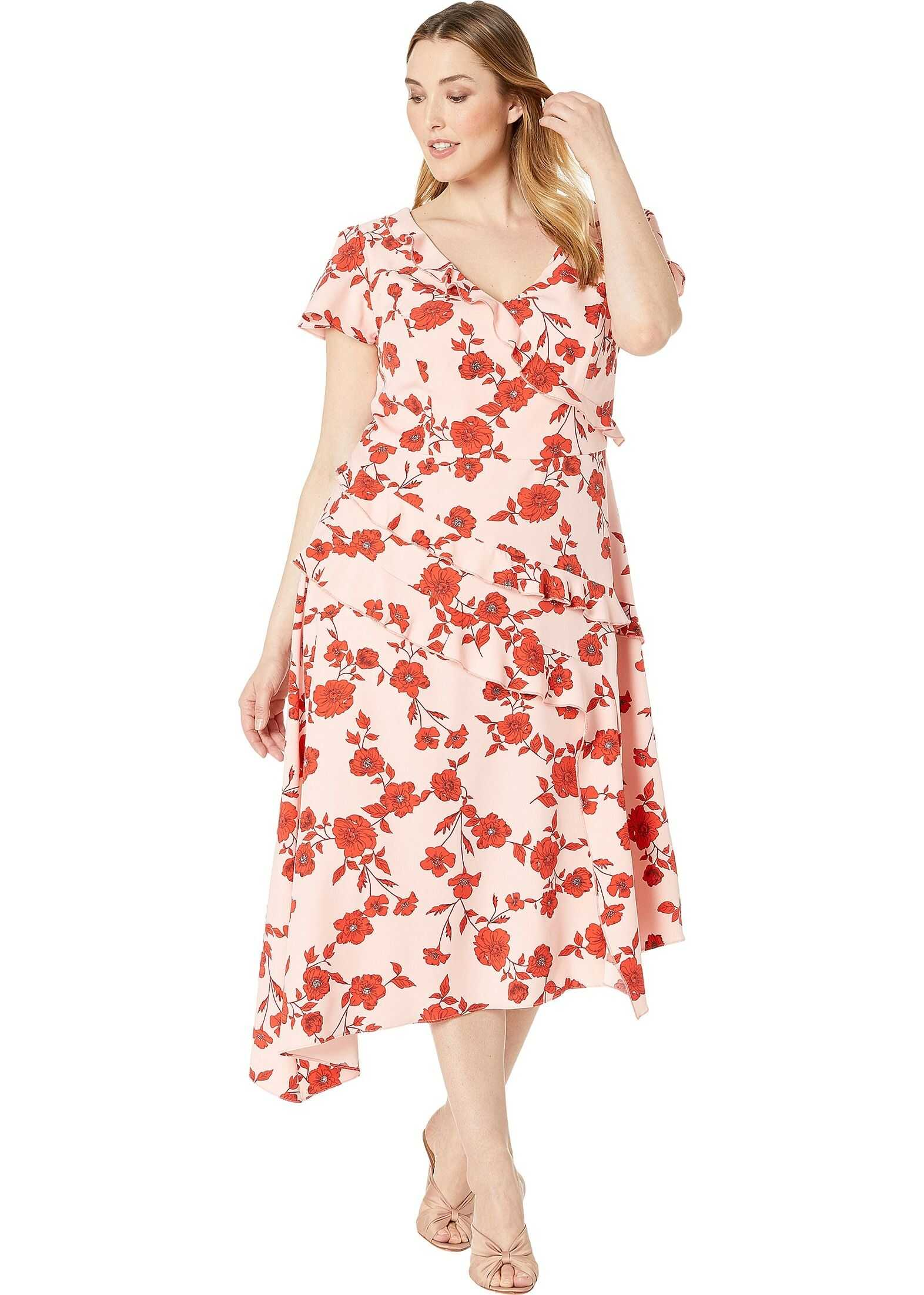 Adrianna Papell Plus Size Gauzy Crepe Floral Fit and Flare Dress Pink/Red Multi