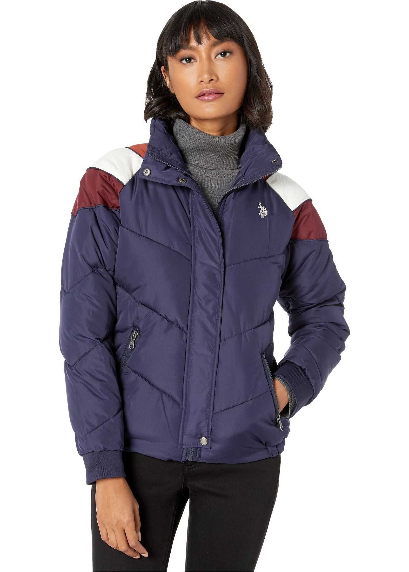 U.S. POLO ASSN. Puffer Jacket with Corduroy Evening Blue