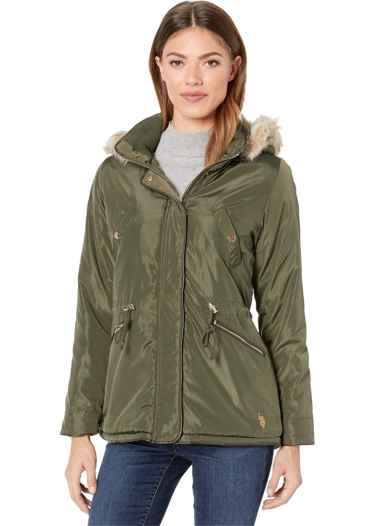 U.S. POLO ASSN. Anorak with Fur Hood Olive