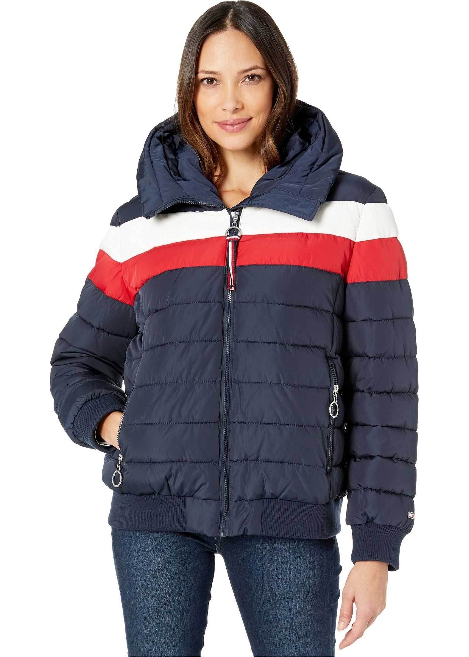 Tommy Hilfiger Color Block Puffer w/ Hood Navy