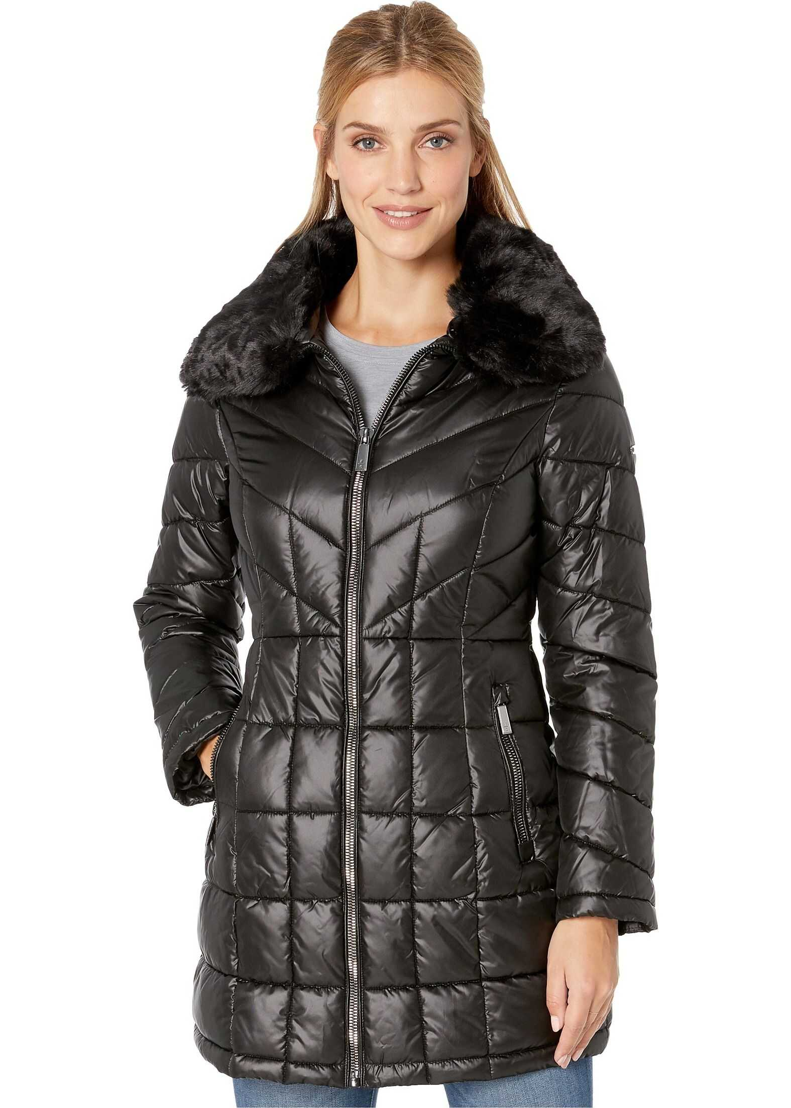 Kenneth Cole New York Zip Front Quilted Puffer w/ Faux Fur Trimmed Collar Black