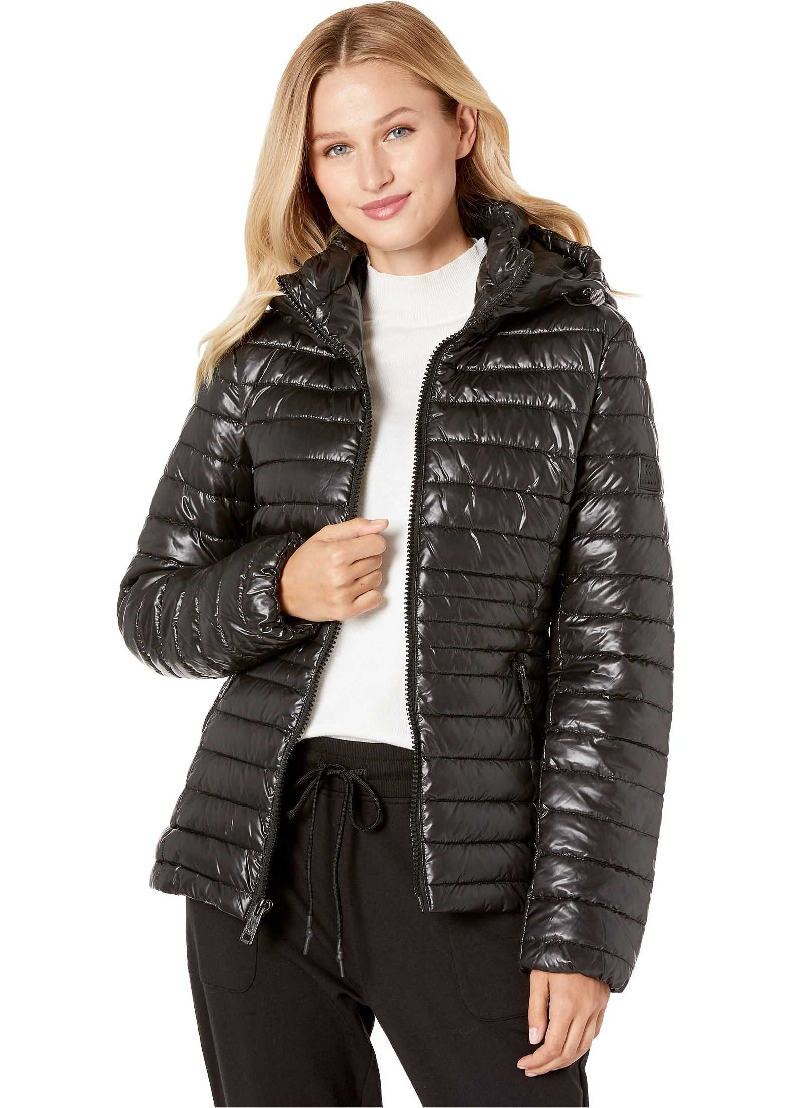 Kenneth Cole New York Hooded Zip Front Channel Quilted Packable Black