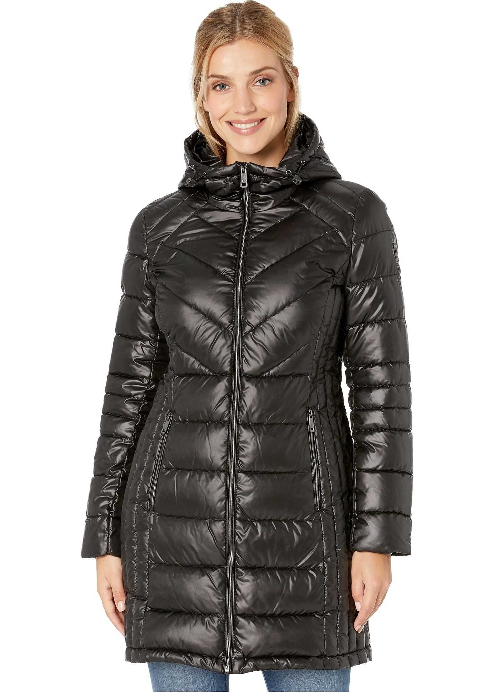 Kenneth Cole New York Zip Front Quilted Packable Black