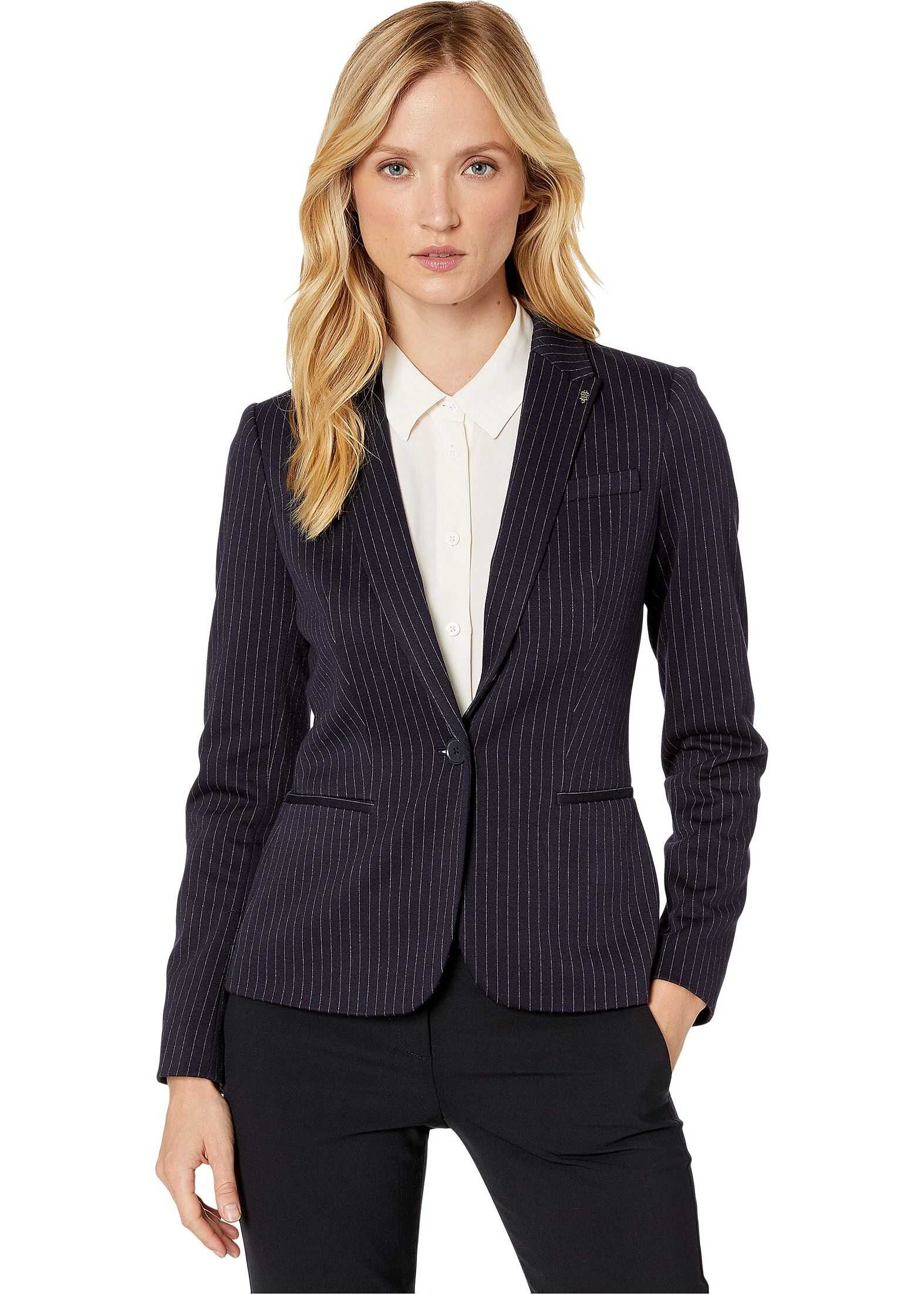 Tommy Hilfiger Pinstripe One-Button Sweatshirt Jacket Midnight/Charcoal