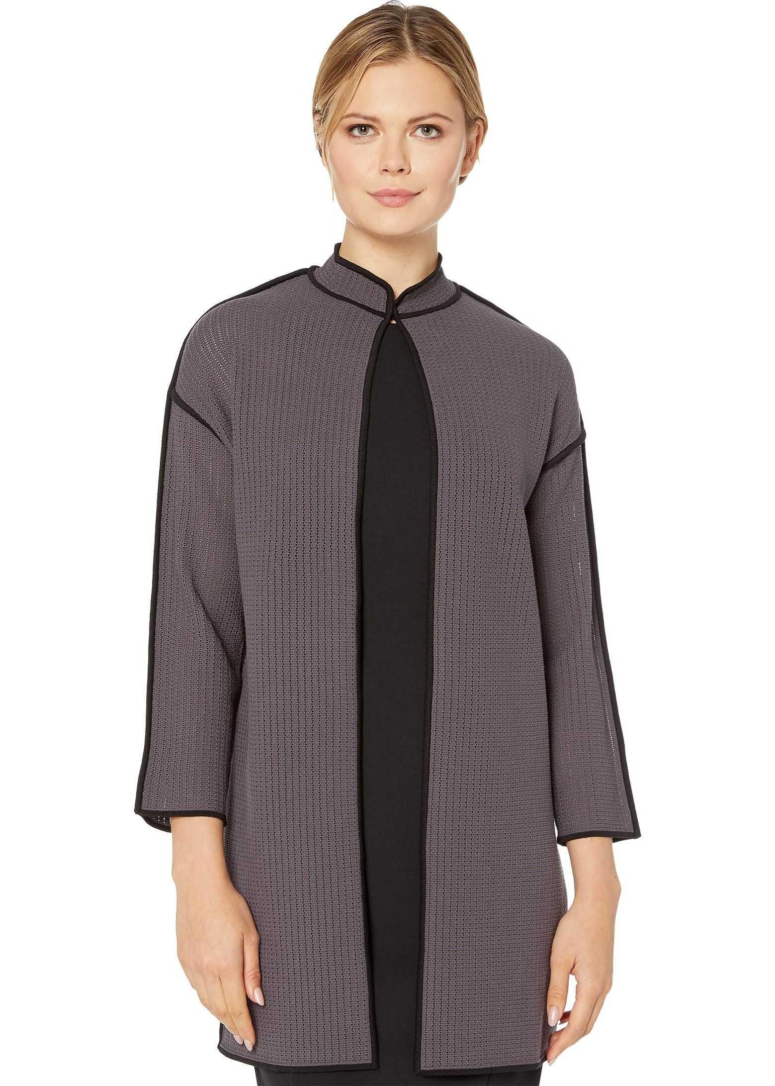 Anne Klein Sweater Jacket Nantucket Grey/Anne Black
