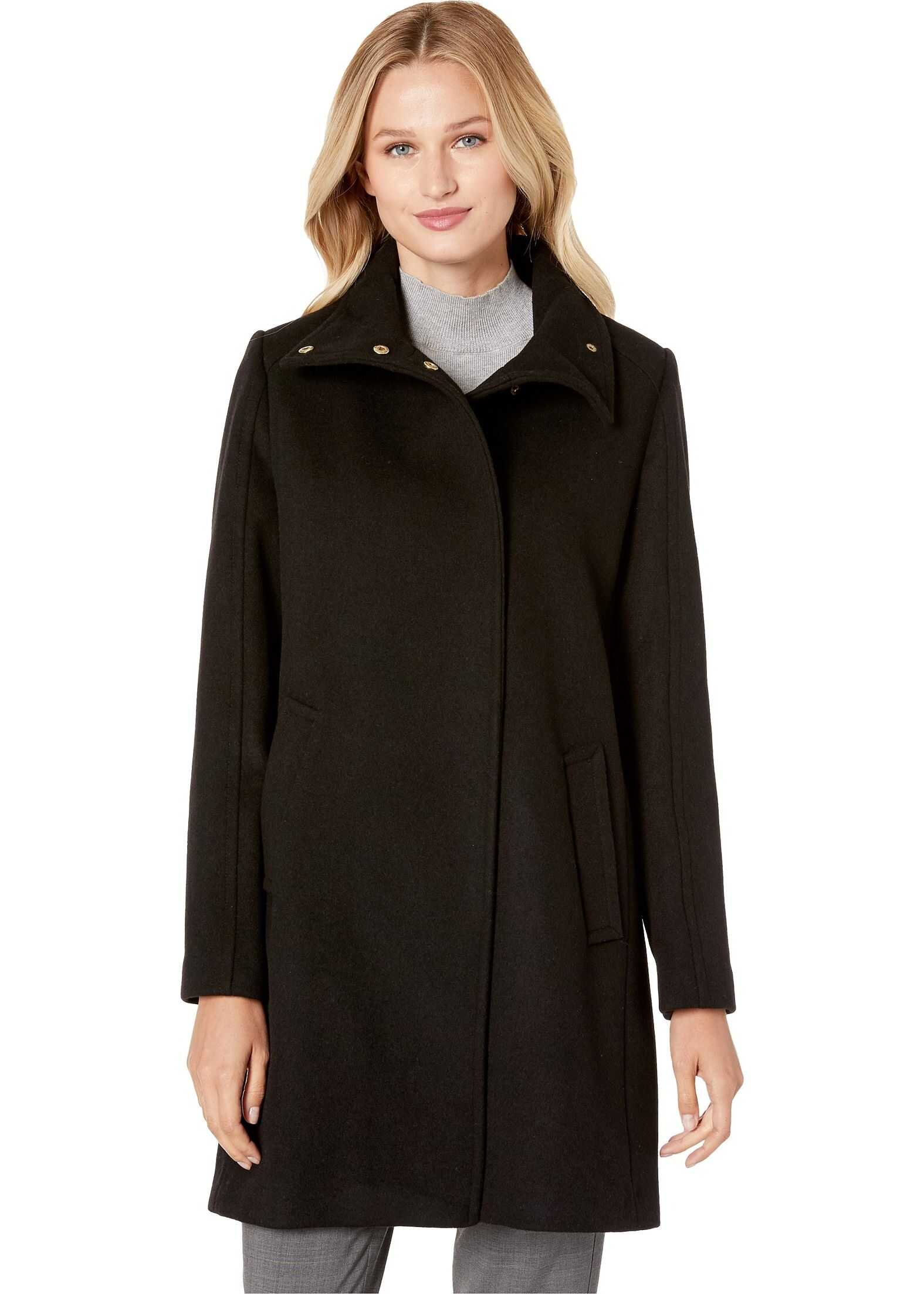 Cole Haan Slick Wool Topper Coat w/ Snap Closure Black