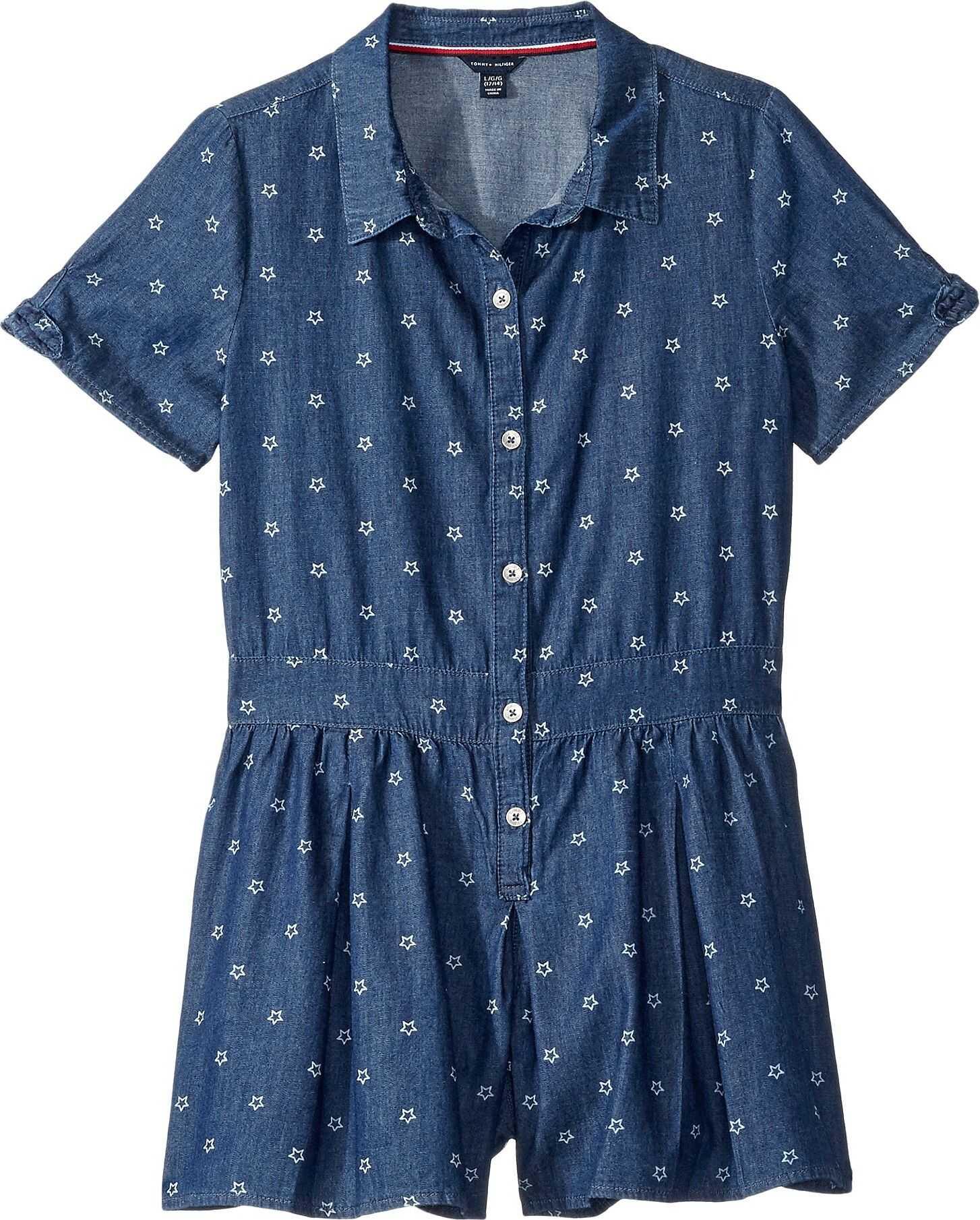 Star Print Denim Romper Dress (Big Kids)