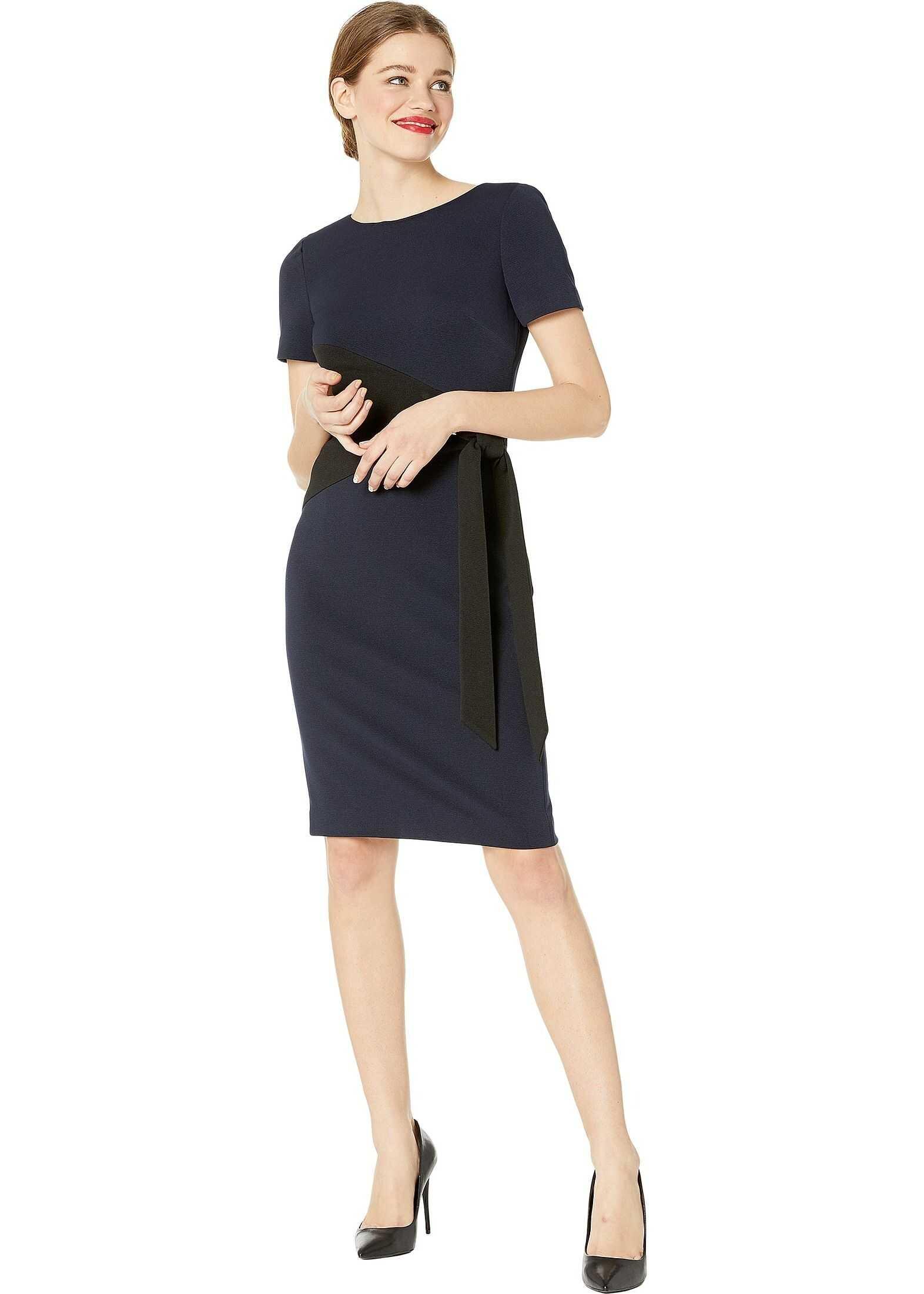 Badgley Mischka Two-Tone Stretch File Tie Front Day Dress Navy/Black