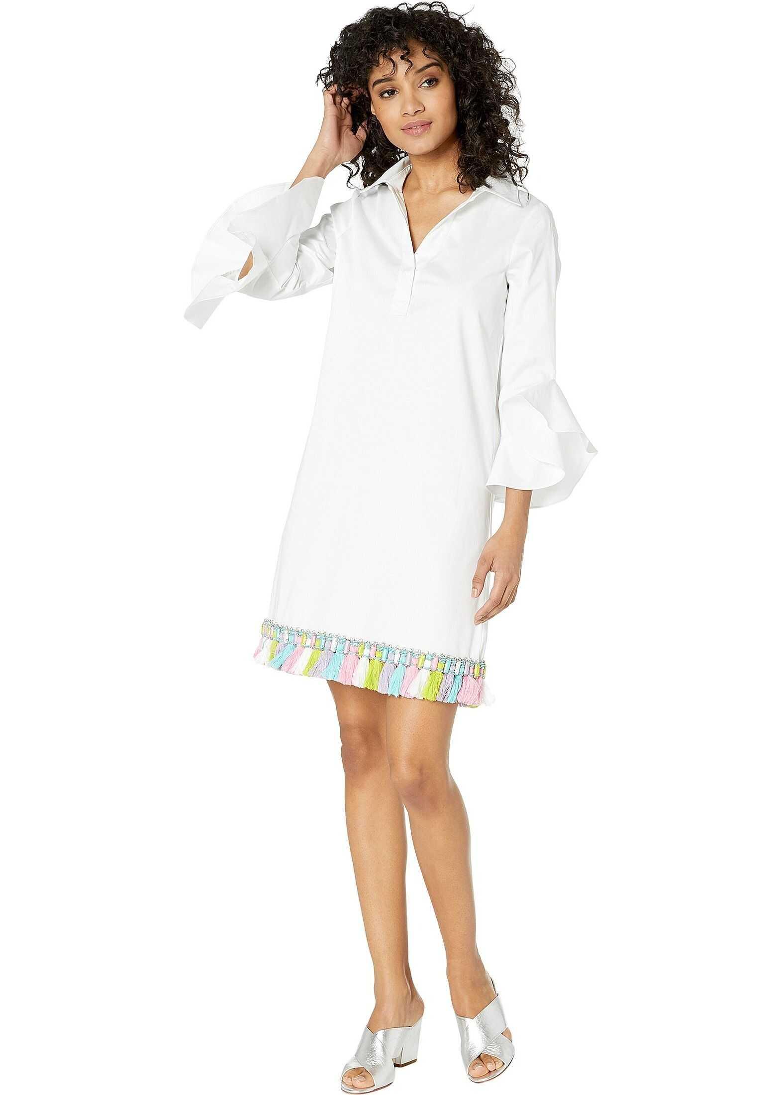 Badgley Mischka Tassel Trim Hem Dress White Multi