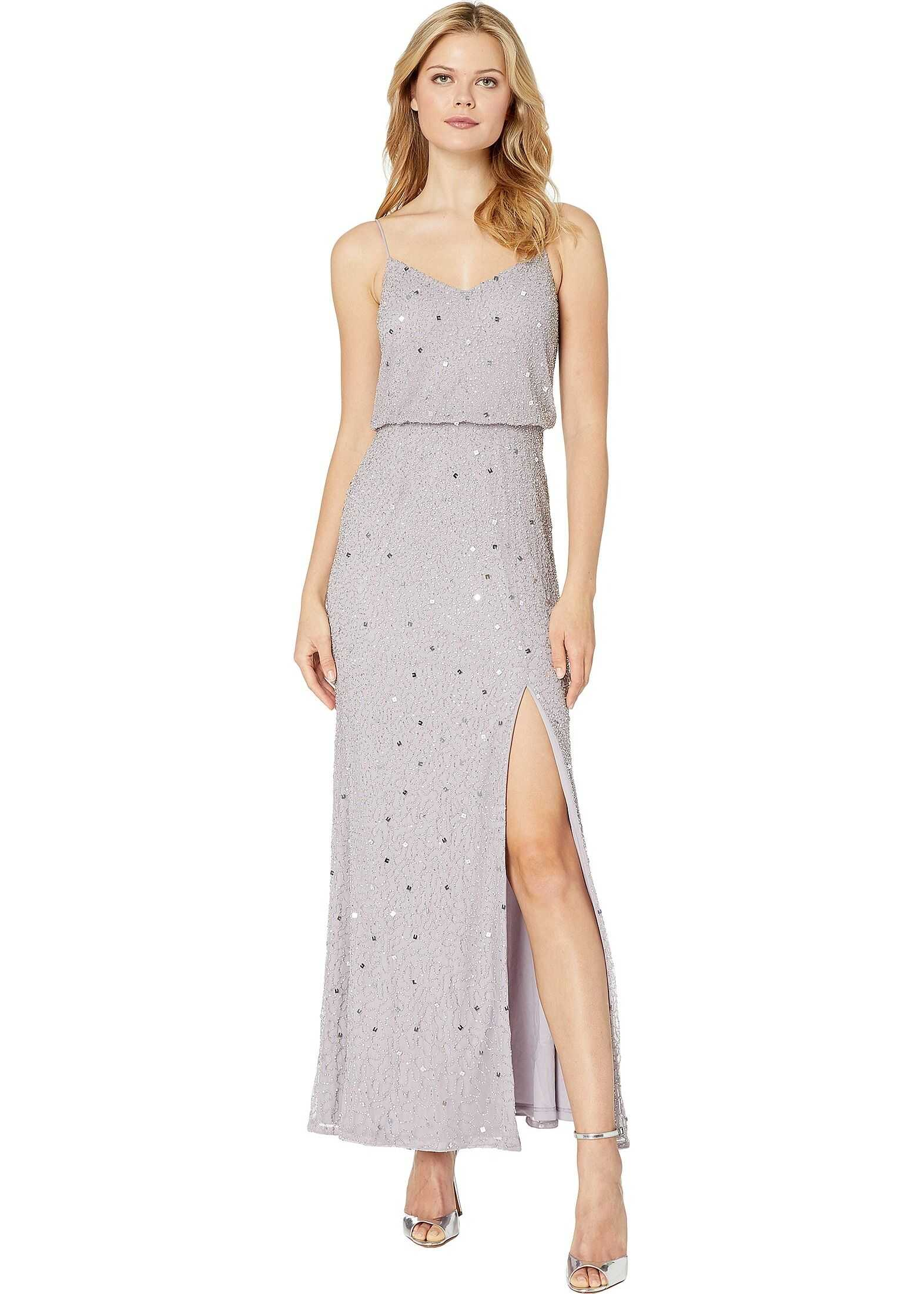 Adrianna Papell Beaded Blouson Evening Gown Lilac Grey